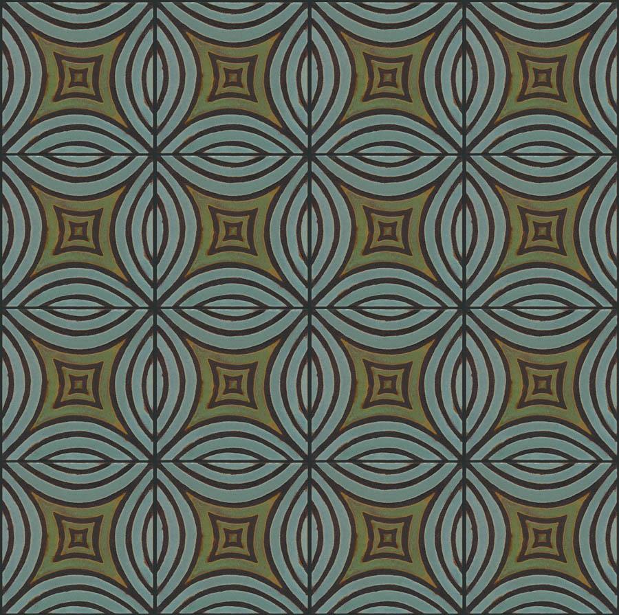 Mosaic Leaf 8x8 in repeat - Ocean + Patina - black line