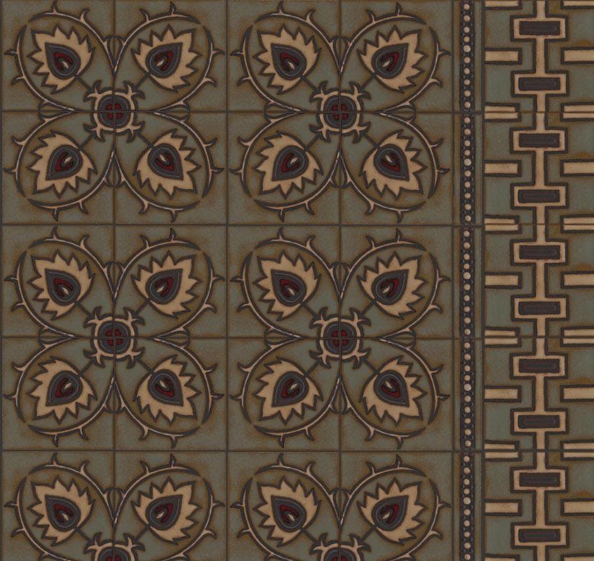 Suzani Thistle 8x8, Beaded Border 2x8 and Suzani Geo in custom color palette; Celine, Limestone, Black Fig, Sangria