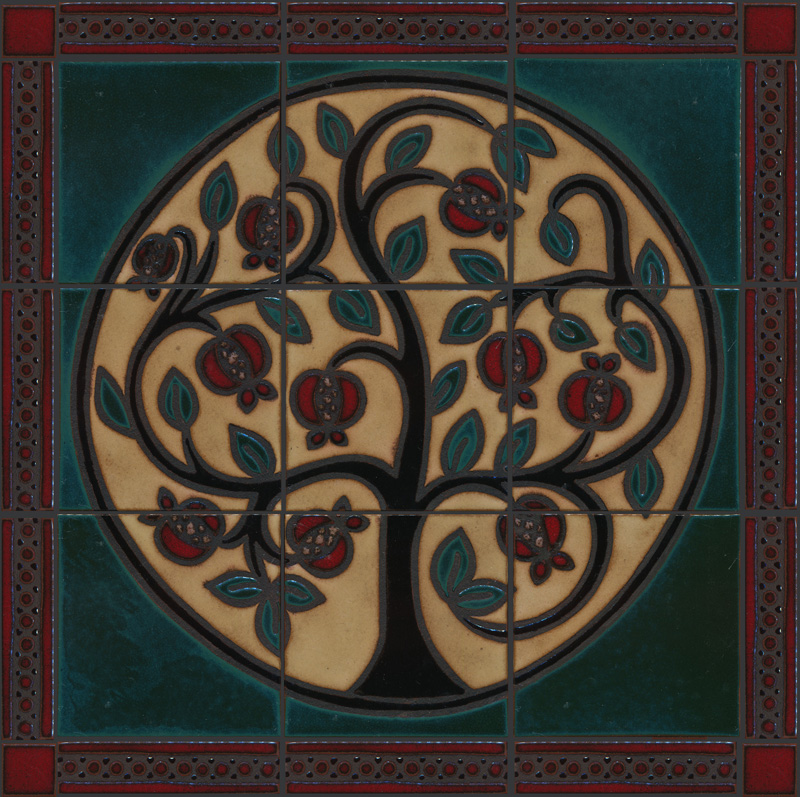 Pomegranate Mural in custom colors: Aqua, Ivory, Black Gloss, Sangria, Copper. Surrounded by Beaded Border 2x8