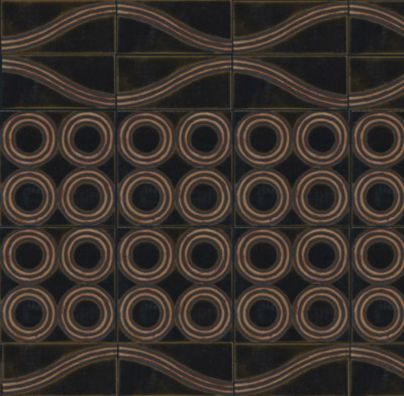 Wave A + B, 4 circle deco - Moonlight + Ivory - Black Line (Malachite replaced by Moonlight)