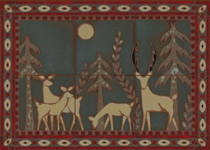 6 pc Deer in Moonlight Mural - Hartford Color Palette - surrounded by Diamond Liner 2x8, also in Hartford Palette