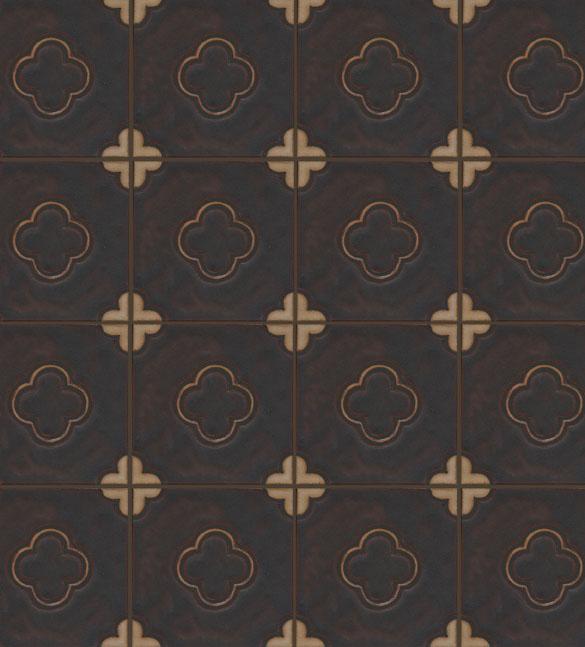 5-Clover on 8x8 - Black Fig + Ivory with black line