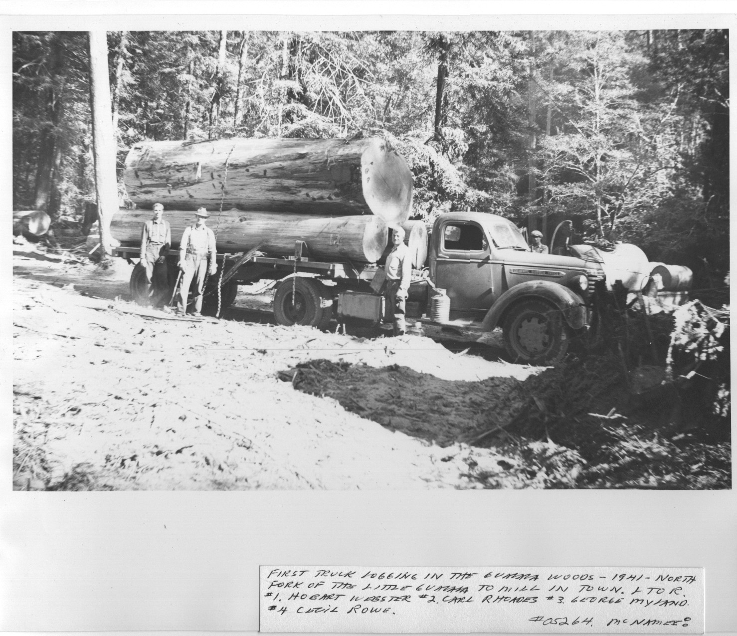 First logging trucks in Gualala 1941