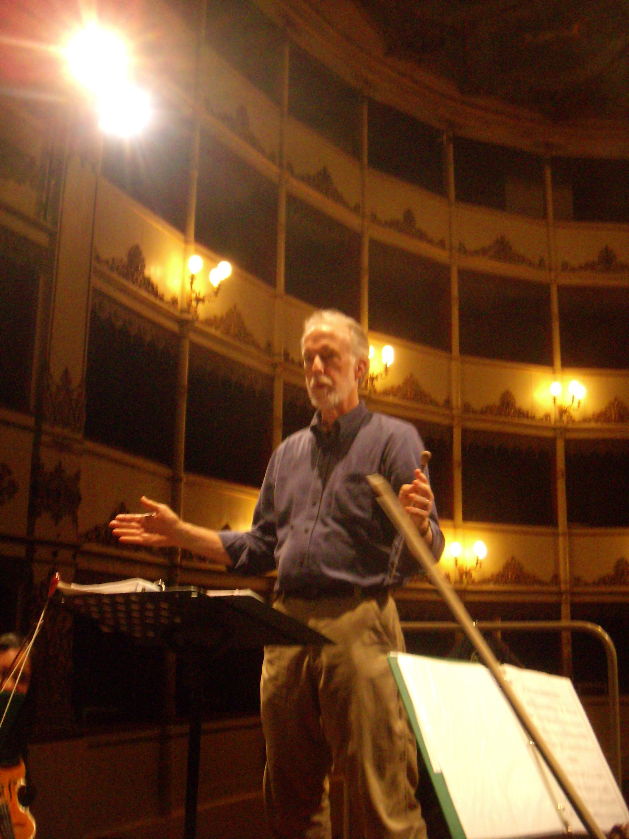 Maestro Chaffee preparing the SHS Tour Orchestra for performance near Cremona Italy 2008