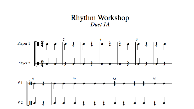 Rhythm Workshop (by Clark Chaffee) is made up of 24 rhythm duets, each with a written preparation page. The duets are arranged into four packets of six duets per pack. Level 1 does not subdivide the beat. Level 2 divides the beat into 2 parts. In level 3 the dotted quarter gets the beat and all duets divide the beat into three parts. Level 4 divides the beat into 4 parts. Levels 1, 2, and 4 have time signatures with 2, 3, or 4 beats per bar. Within each pack there are duets with quarter, eighth, and half notes getting one beat.  For the best results, students should work in pairs to check off the performance of the duets. Each student is to count out loud as prescribed in the preparation page. For final approval, each student performs one part while the partner performs the other part. Peer coaches are very helpful for support and check off of this process.  When finished with the series, students have mastered most of the rhythms that they will every see in performance repertoire and several ways to write each of those rhythms.