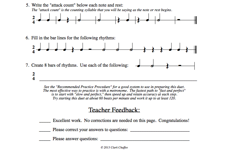 Rhythm Workshop (by Clark Chaffee) preparation pages conclude with filling in missing bar lines and creating 8 measures of original rhythm patterns similar to those for that duet. At the bottom of the page (as well as on the cover for the cover for each of the 4 packets) are lines for clear teacher feedback.