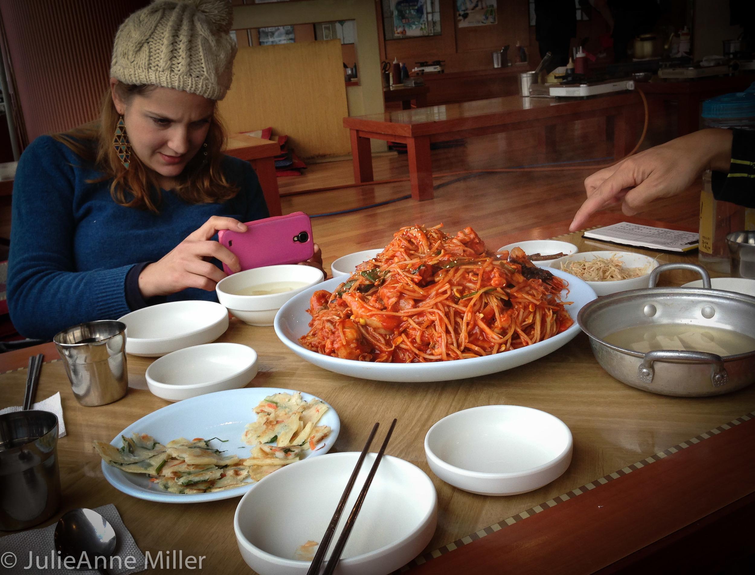My friend Hannah at Songjin Agu Tang restaurant in Inchon, South Korea.