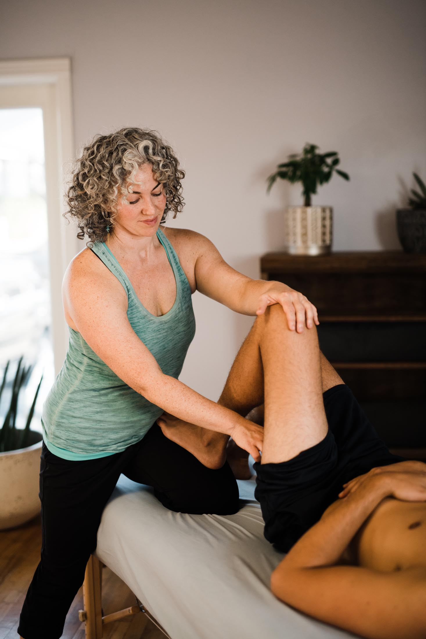 What is a session like? - Rolfing sessions are 75-90 minutes. During our first session, we will spend some time going over your health history and your goals for our work together. After we had some time to chat, I will asses your alignment and movement patterns in both standing and walking. I'm looking to see where your body is balanced and where you have compensatory patterns and tissue adhesions that are potentially causing problems.Most of the session will take place on a massage table. Rolfing is never painful but can be intense (in a hurts so good type of way). At times, I will ask you to make small movements to facilitate a change in the connective tissues. There will be some work done in a seated or standing position.Rolfing attire for men and women is generally underwear or loose fitting gym/yoga clothes. It's important that I have access to your skin but more important that you feel comfortable on the table.