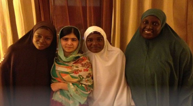 Malala in Nigeria with families of kidnapped girls.