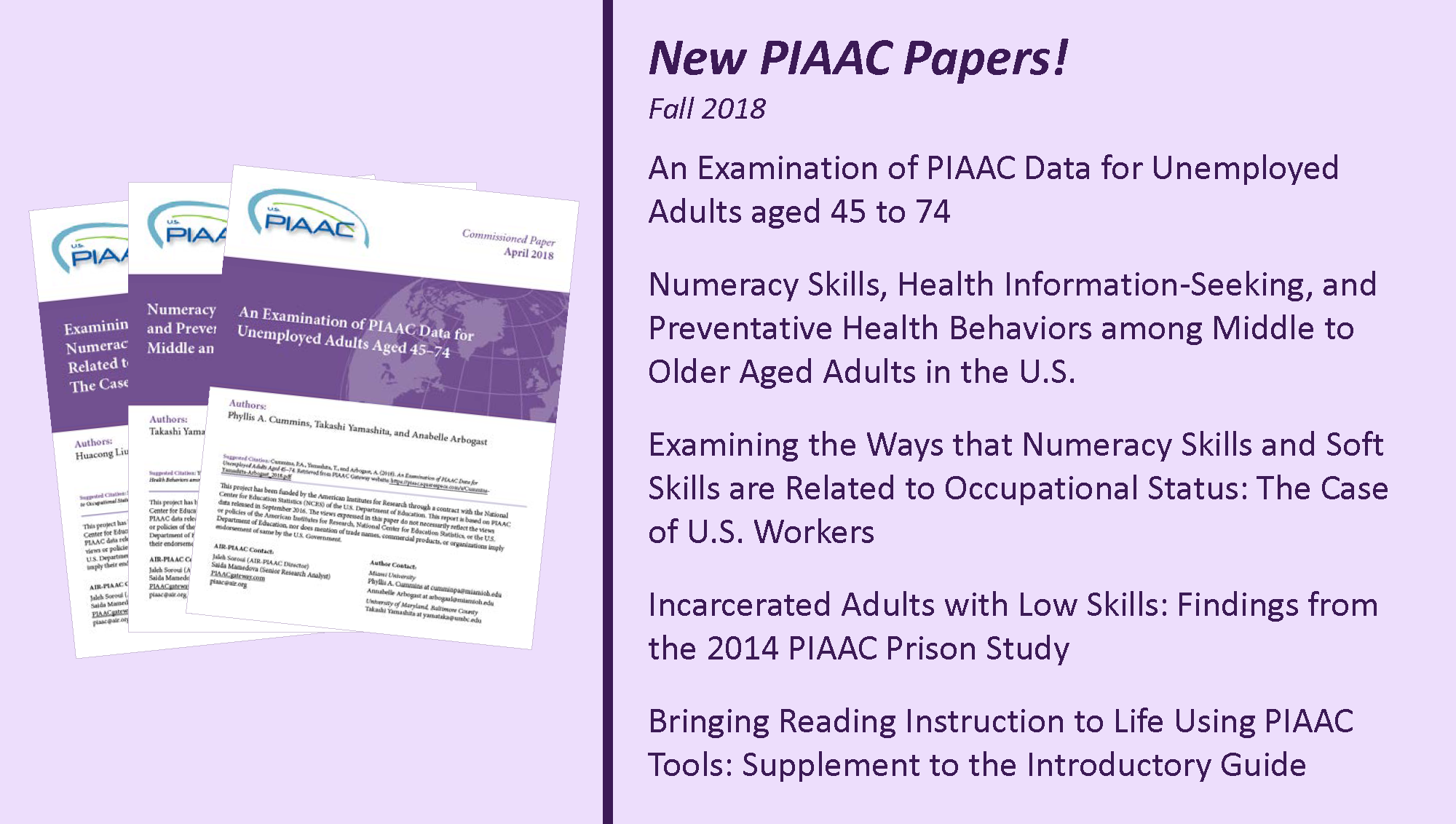 New PIAAC Papers – Fall 2018