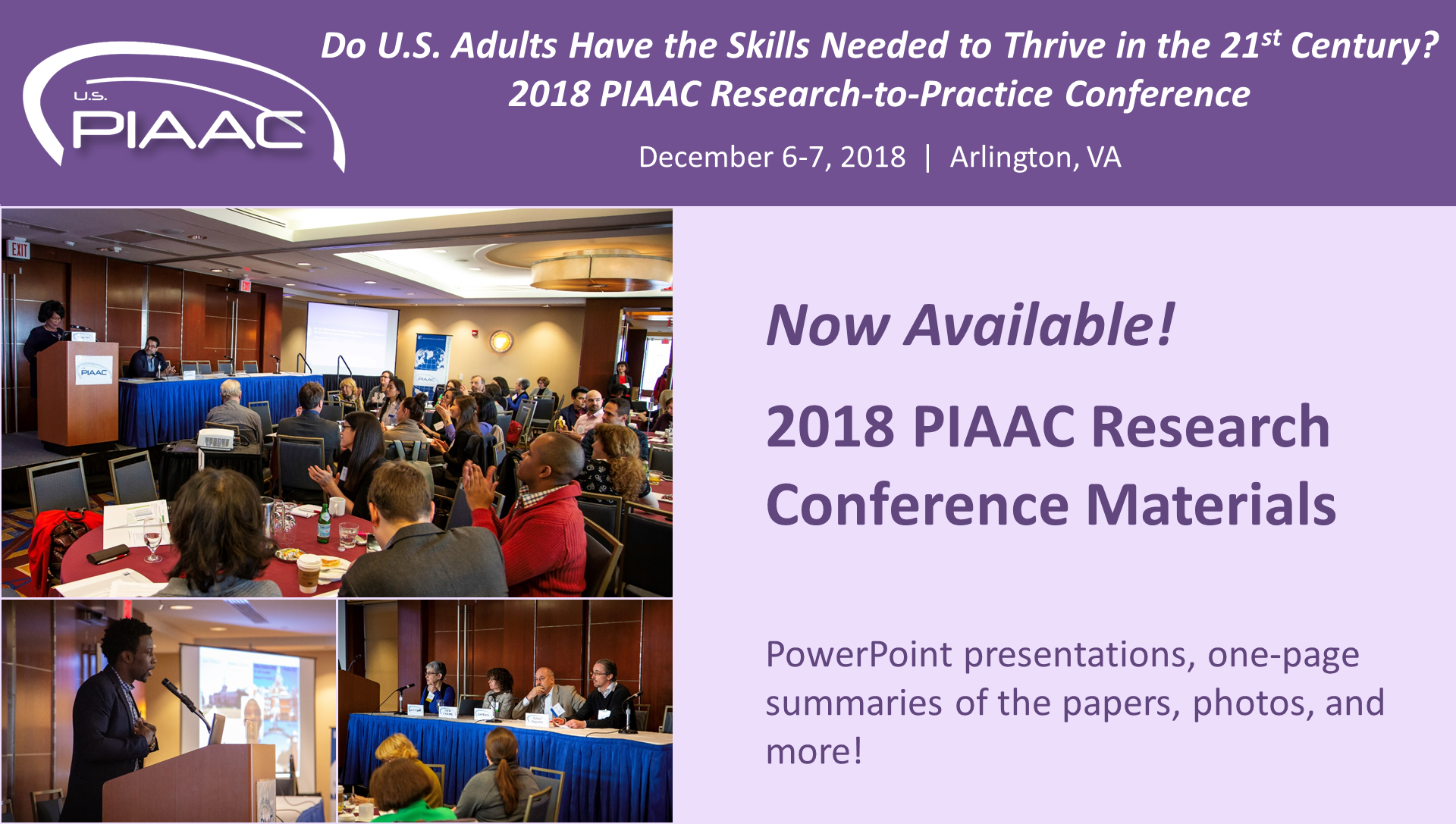 2018 PIAAC Research-to-Practice Conference Materials