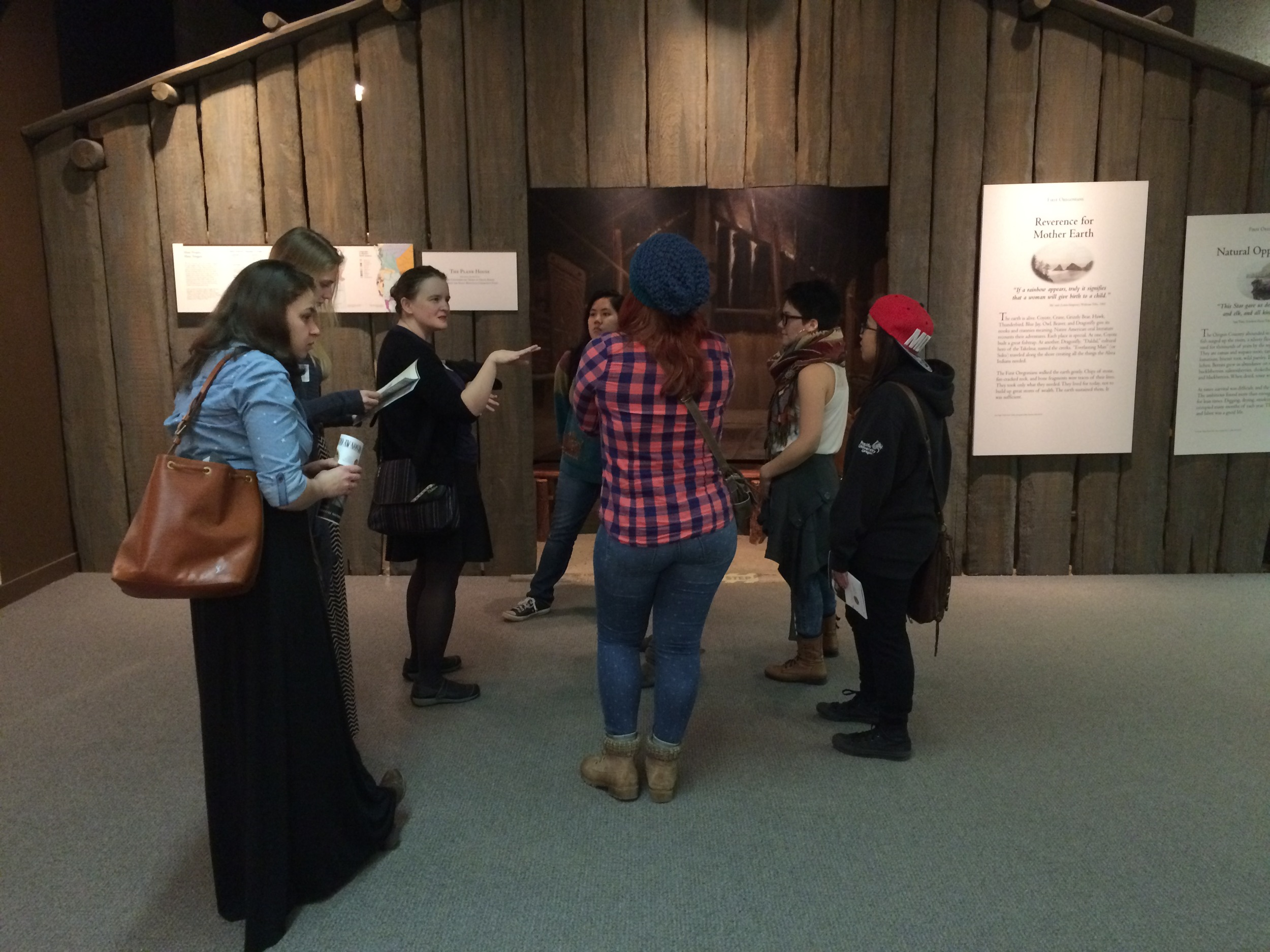 """Visiting the Oregon Historical Society to discuss issues around representation.""""Oregon My Oregon"""" Exhibition. Doing Ethnography. Spring 2015."""