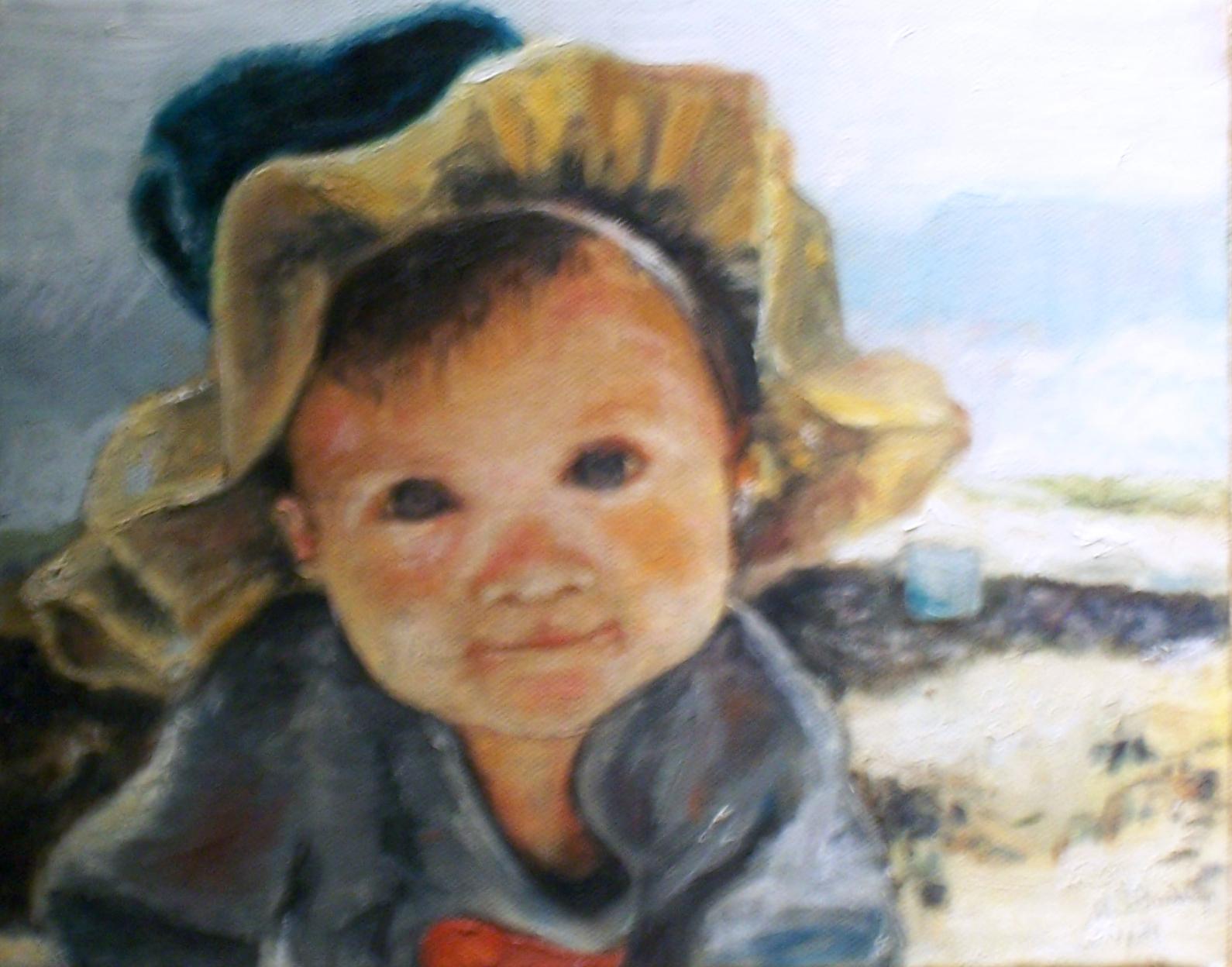 "Baby Matthew  Acrylic paint on canvas 9x12"""