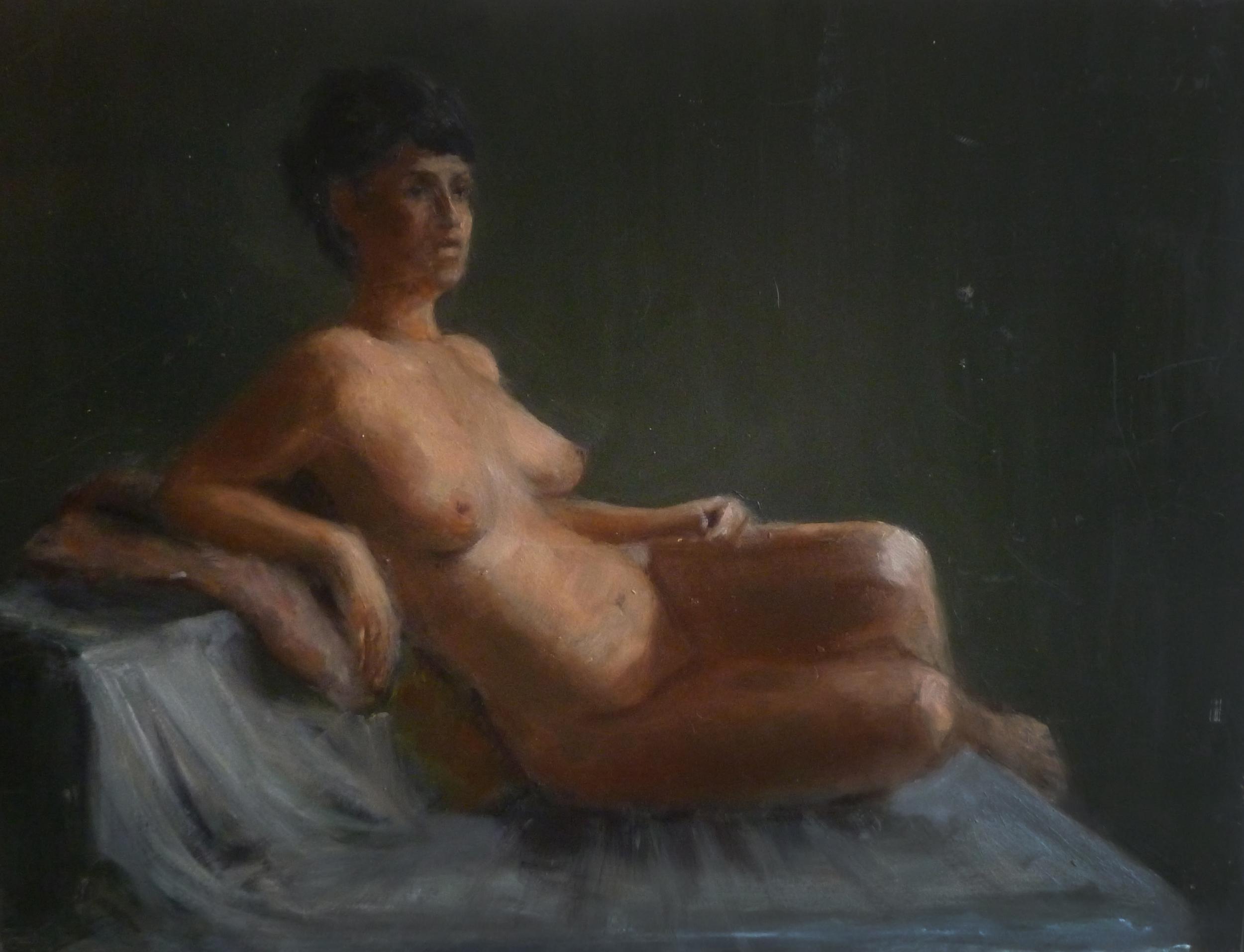 "Viennese Nude  Oil paint on canvas 9x12"""
