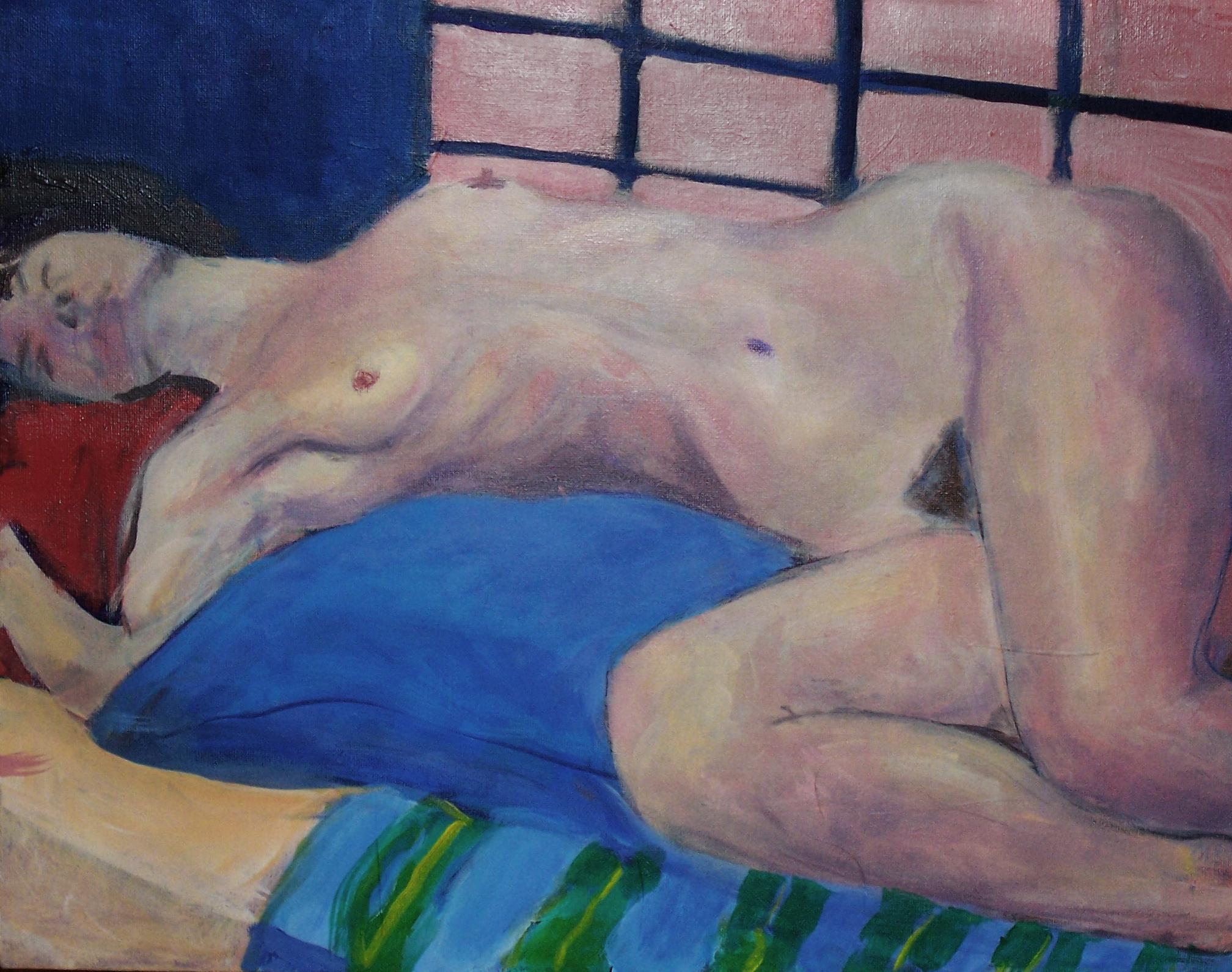 "Nude on Blue Pillow  Acrylic on canvas 18x24"""