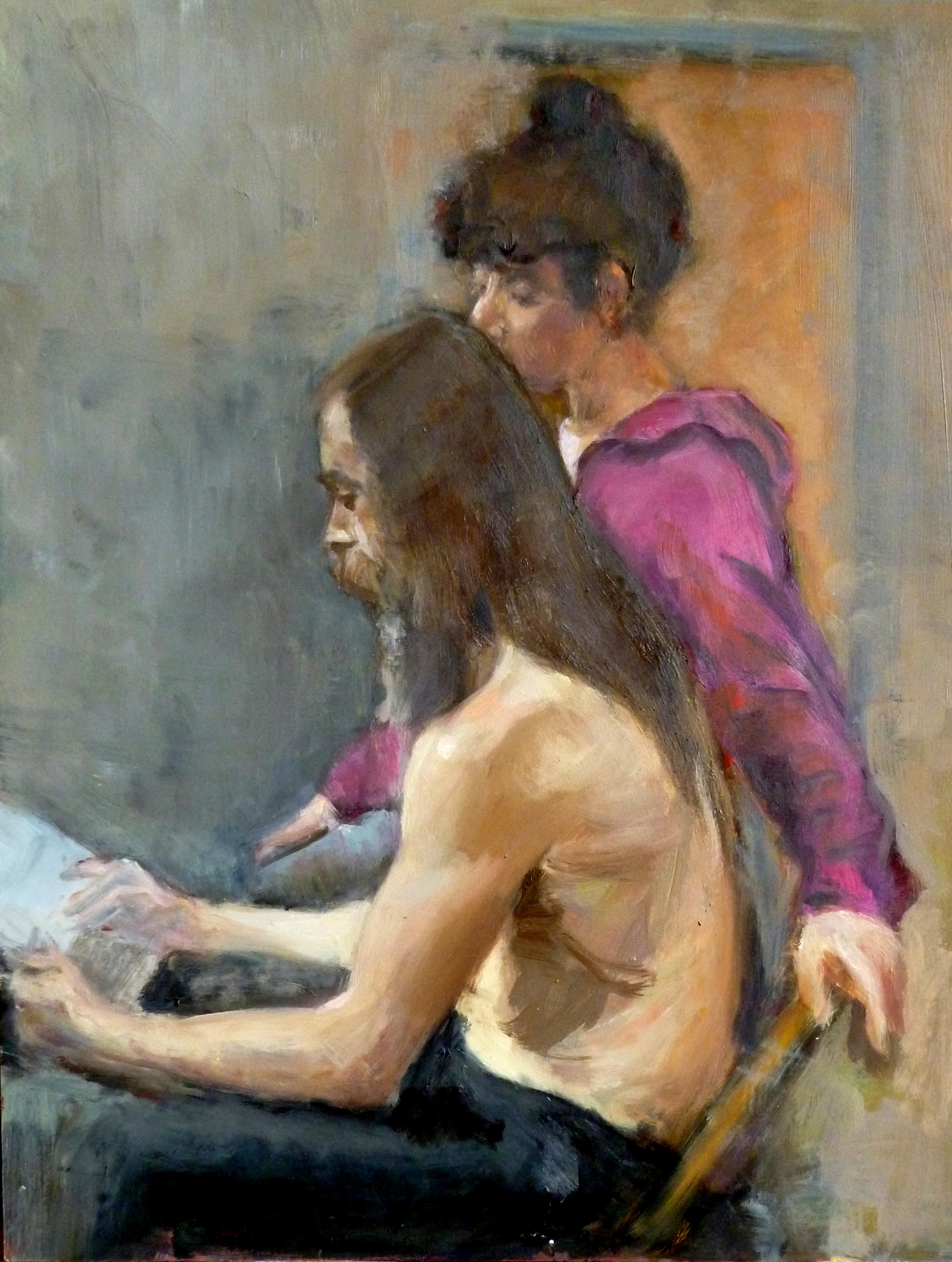 "Lovers Reading  Oil paint on masonite board 18x24"""