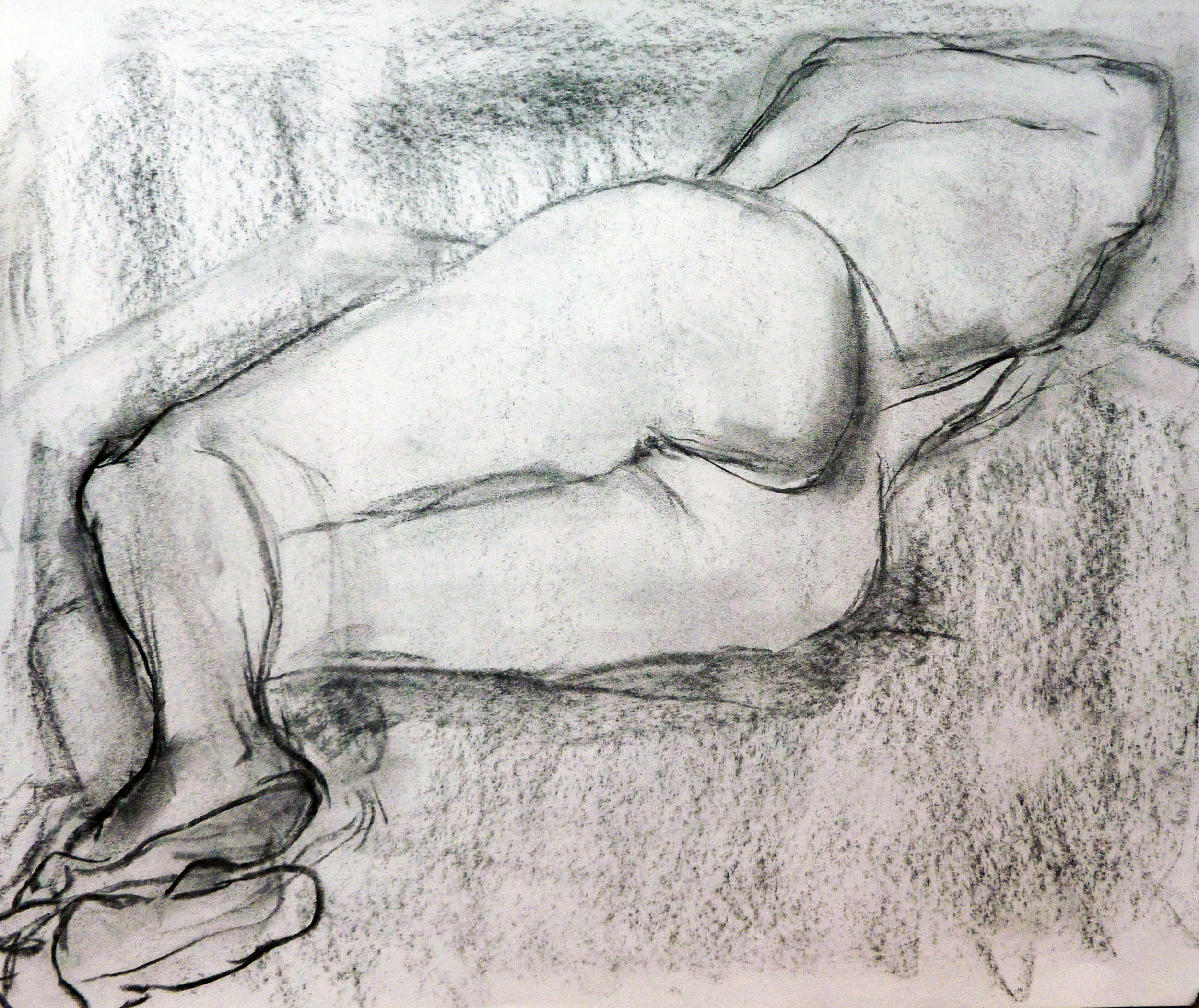 """Foreshorten Nude  Charcoal and Pencil on paper 9x12"""""""