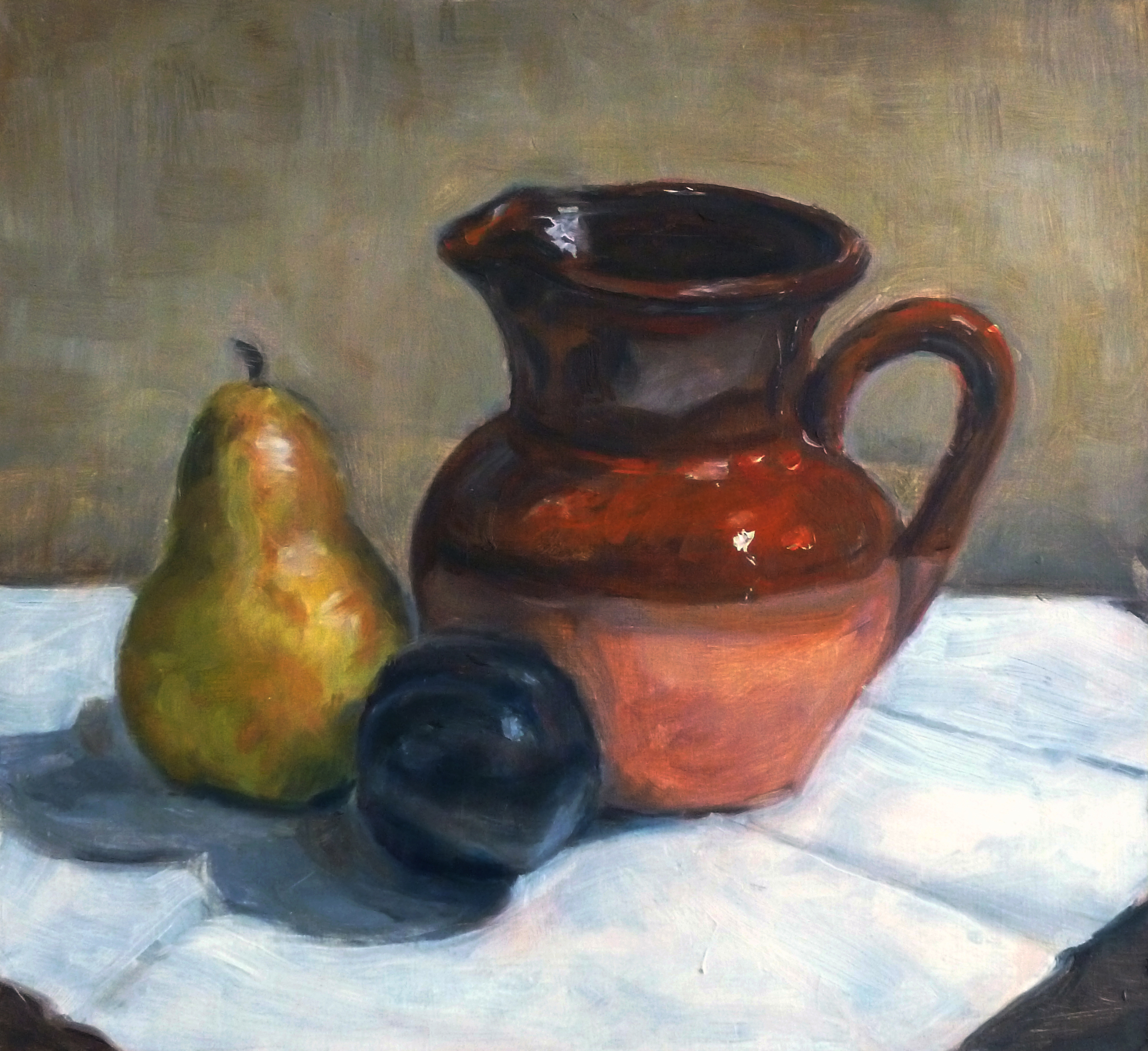 Brown Jug Oil paint on masonite board 10x11""