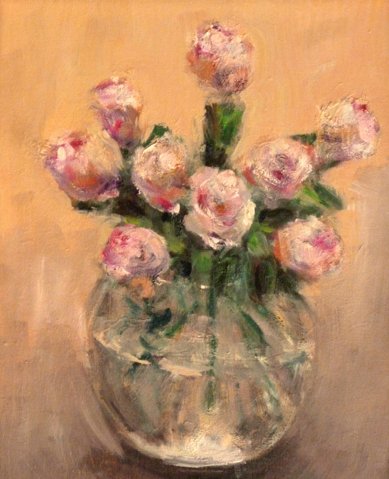 "Pink Roses  Oil Paint on Masonite  11"" x 14"""