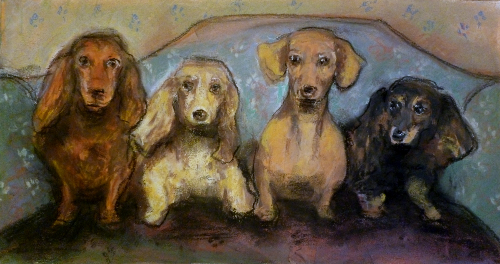 Dachshunds   Pastel on Paper  14x7.5""