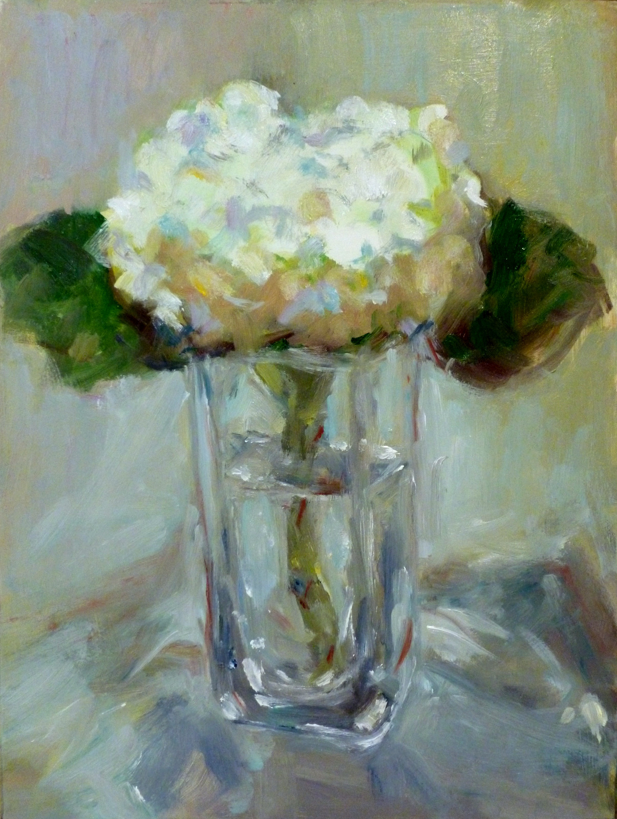 White Hydrangeas in Vase   Oil on Masonite  9x12""