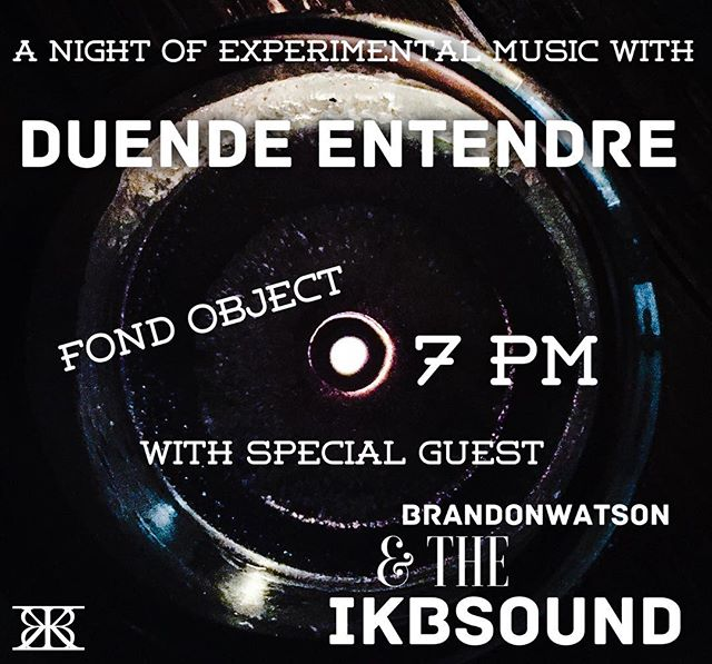 Duende Entendre X BW&IKBSOUND show coming up at Fond Object. 06/15. Doors at 7.