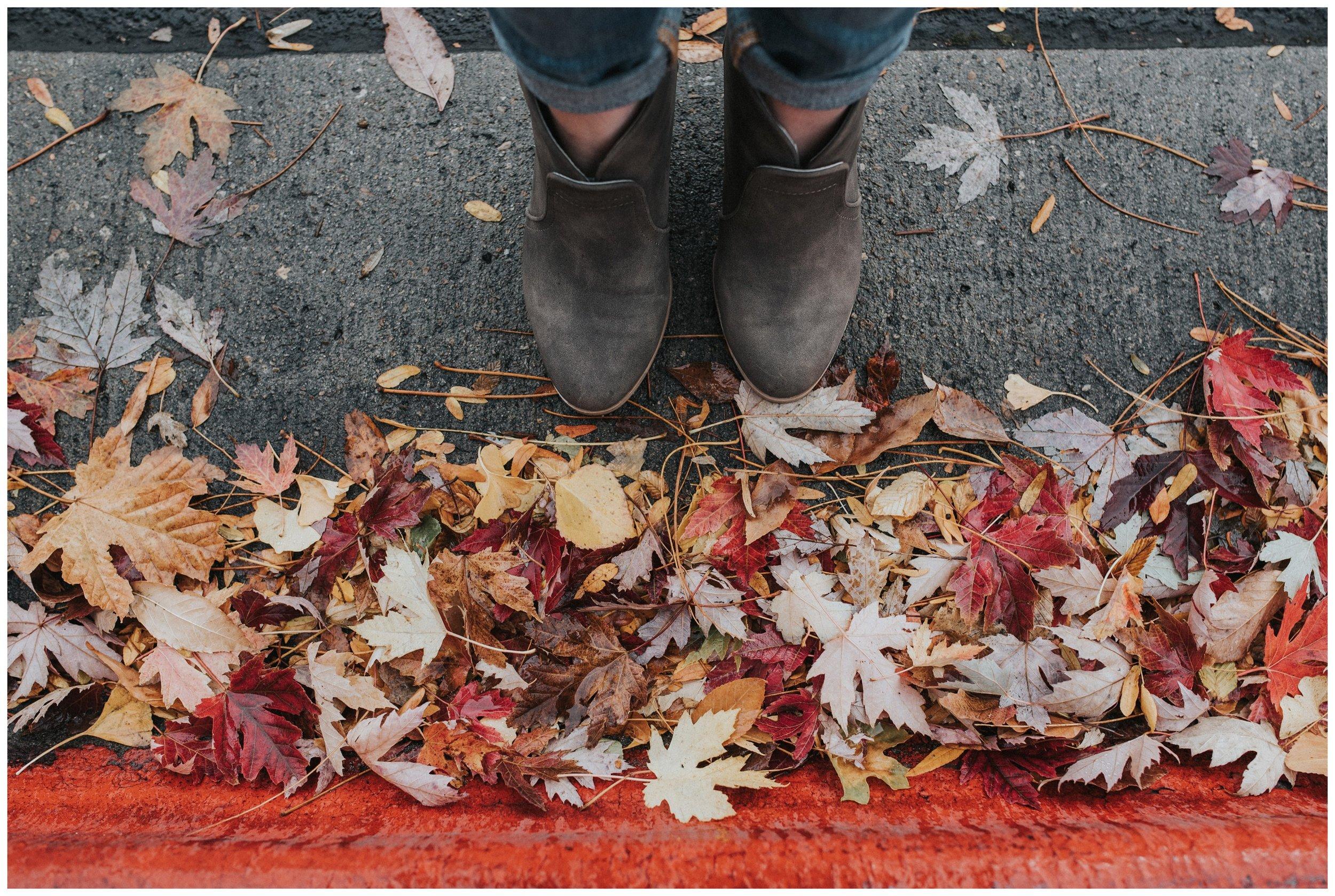 Boise Senior Photographer Fall Leaves Boots Details