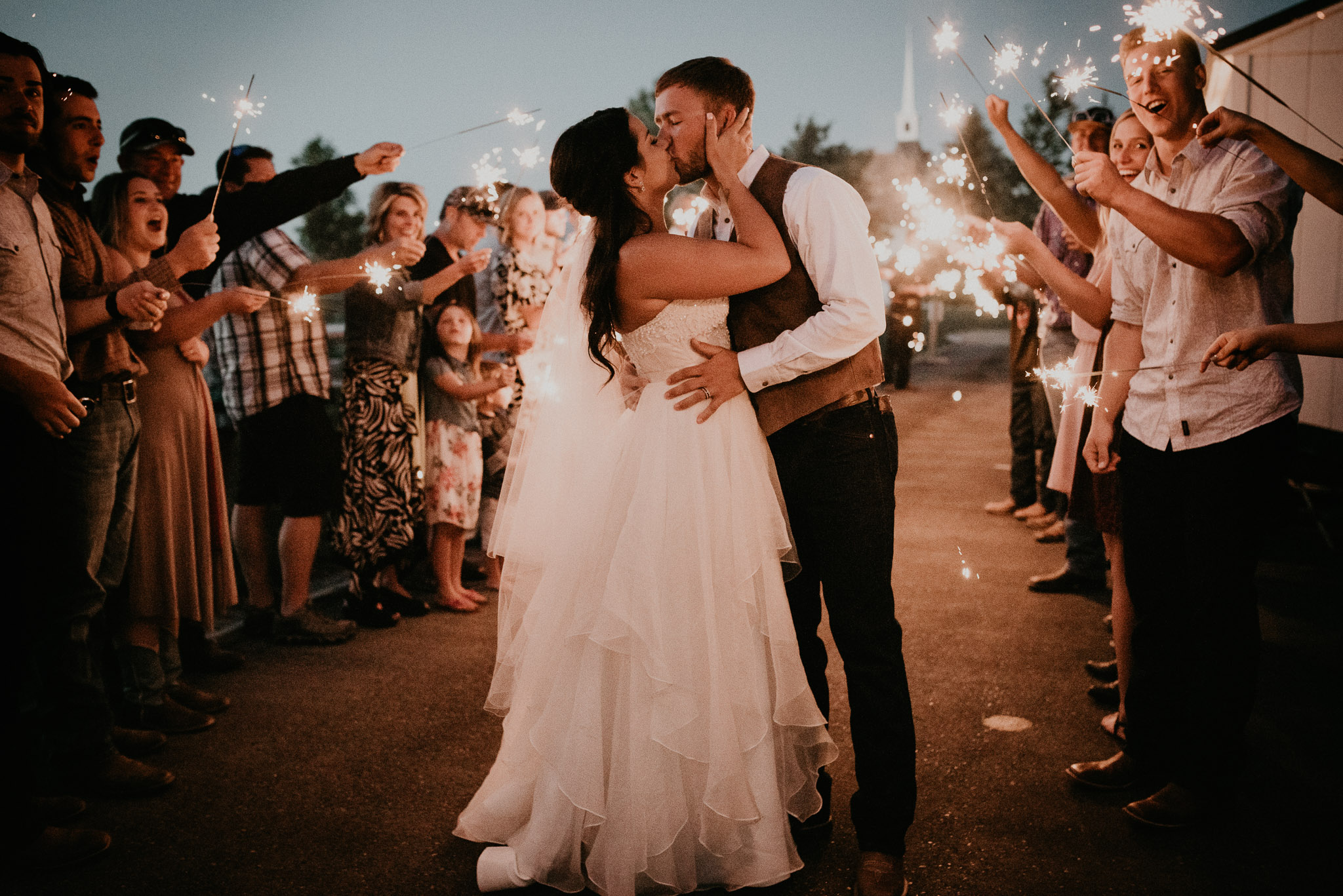 Makayla Madden Photography Dance With Me Boise Wedding Photographer Still Water Hollow Bride Groom White Chapel Wedding Venue Rustic Countryside Wedding Ideas Inspiration Sparkler Exit