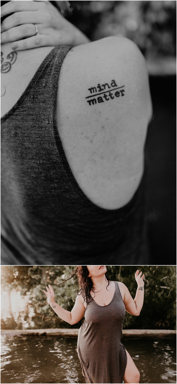 Makayla Madden Photography Boise Idaho Outdoor Boudoir Photographer Boudoir Inspiration Oregon Boudoir Photographer Hipster Boise Hair Makeup Artist Water Lake Mind over matter tattoo