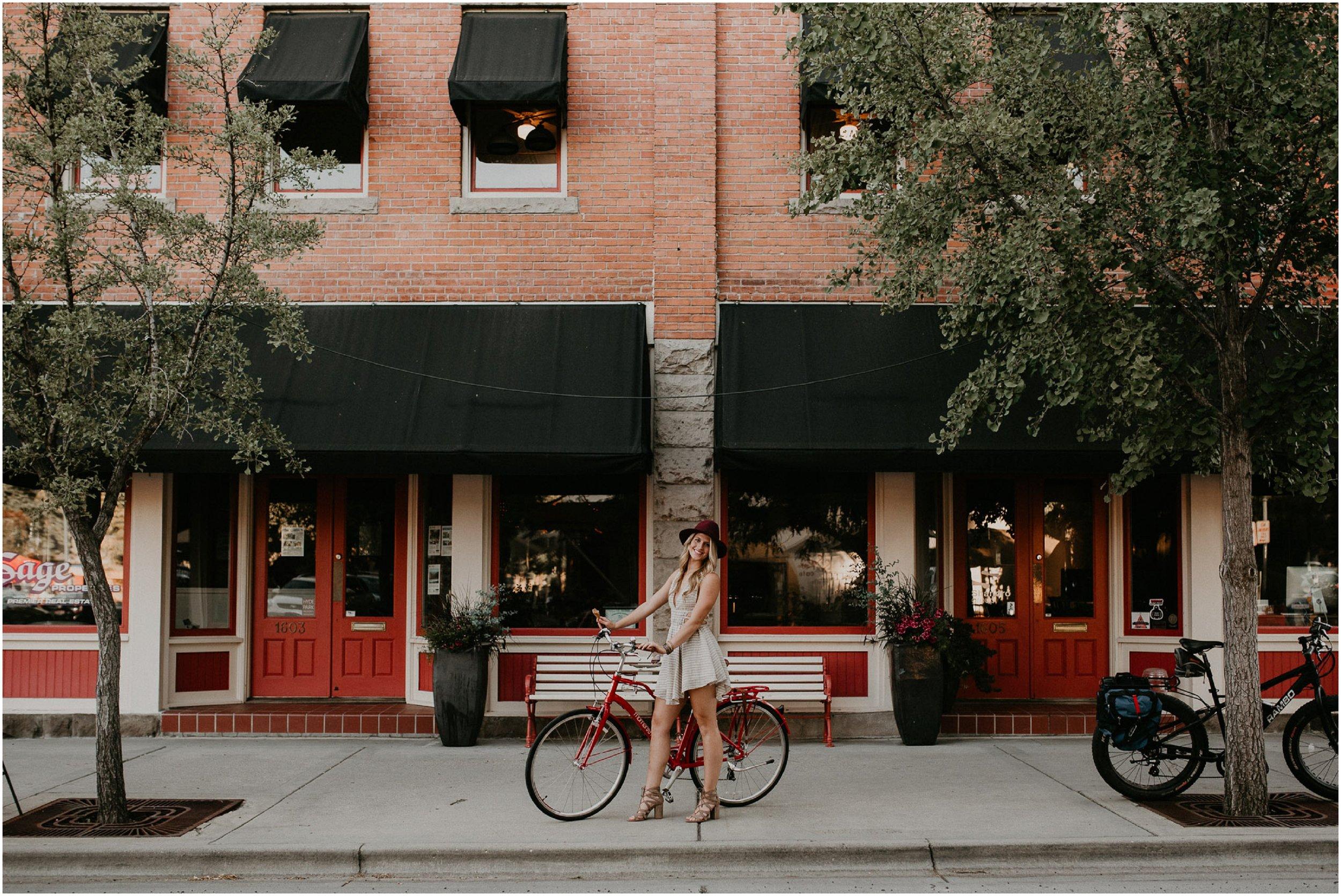 Boise Senior Photographer Makayla Madden Photography Styling Boho Downtown Idaho Table Rock Swank Boutique Creative Senior Picture Ideas Inspiration Hyde Park Bike Dresses Hour Raw Real Unique