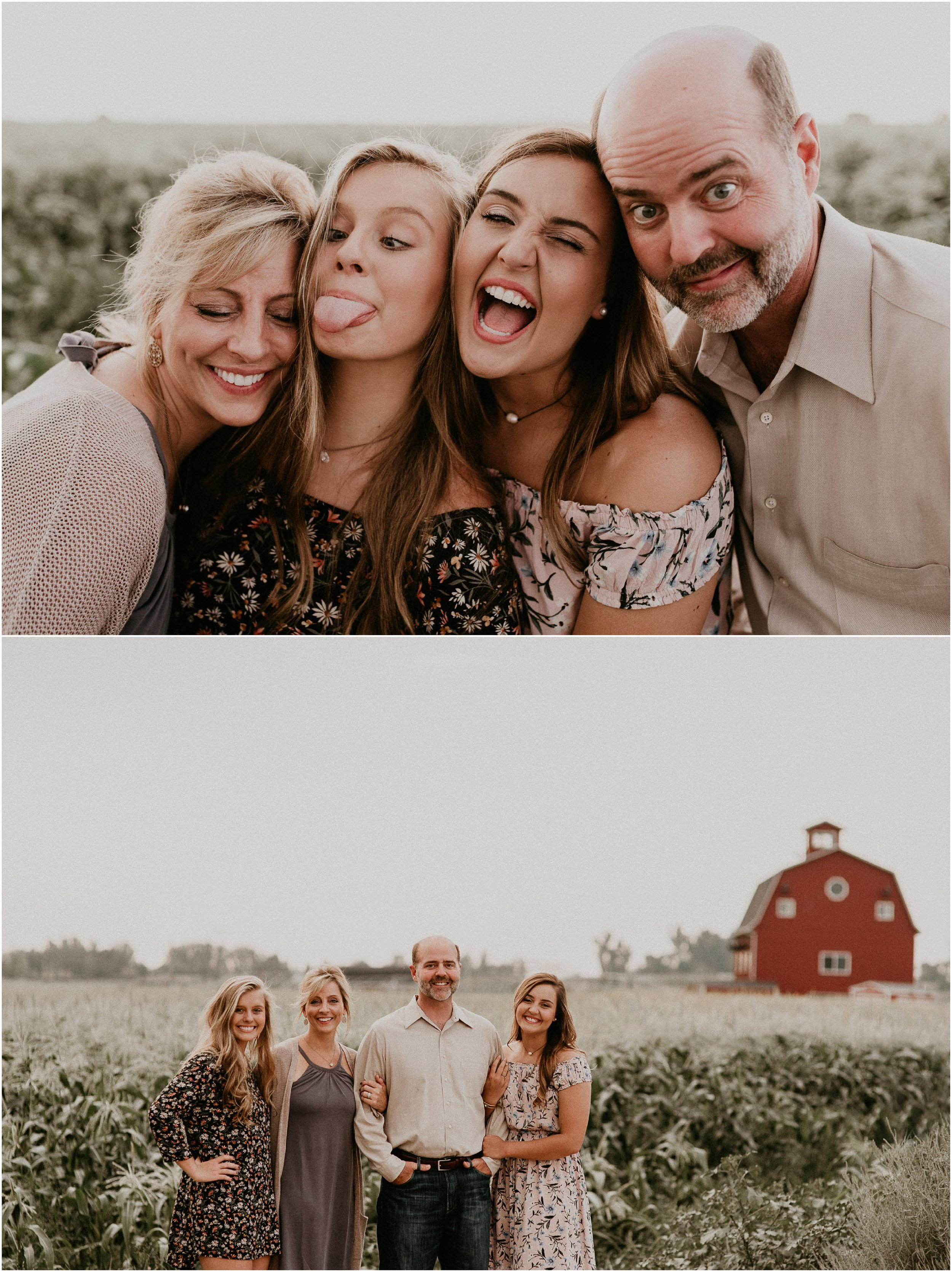 Boise Senior Photographer Idaho Summer Family Pictures Silly Goofy Faces Posing Cornfield Linder Farms Makayla Madden Photography
