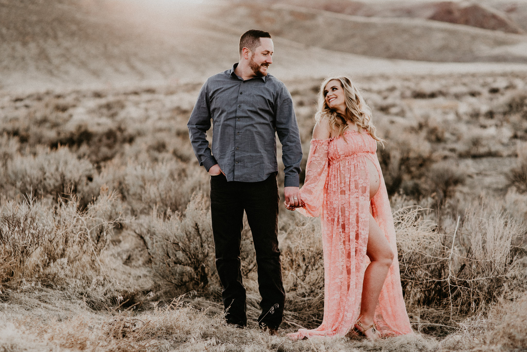 Boise Maternity Senior Boudoir Photographer Makayla Madden Photography Maternity dress motherhood expecting Idaho Blush Pink Sew Trendy Accessories Lace Gown Boise Maternity Pictures