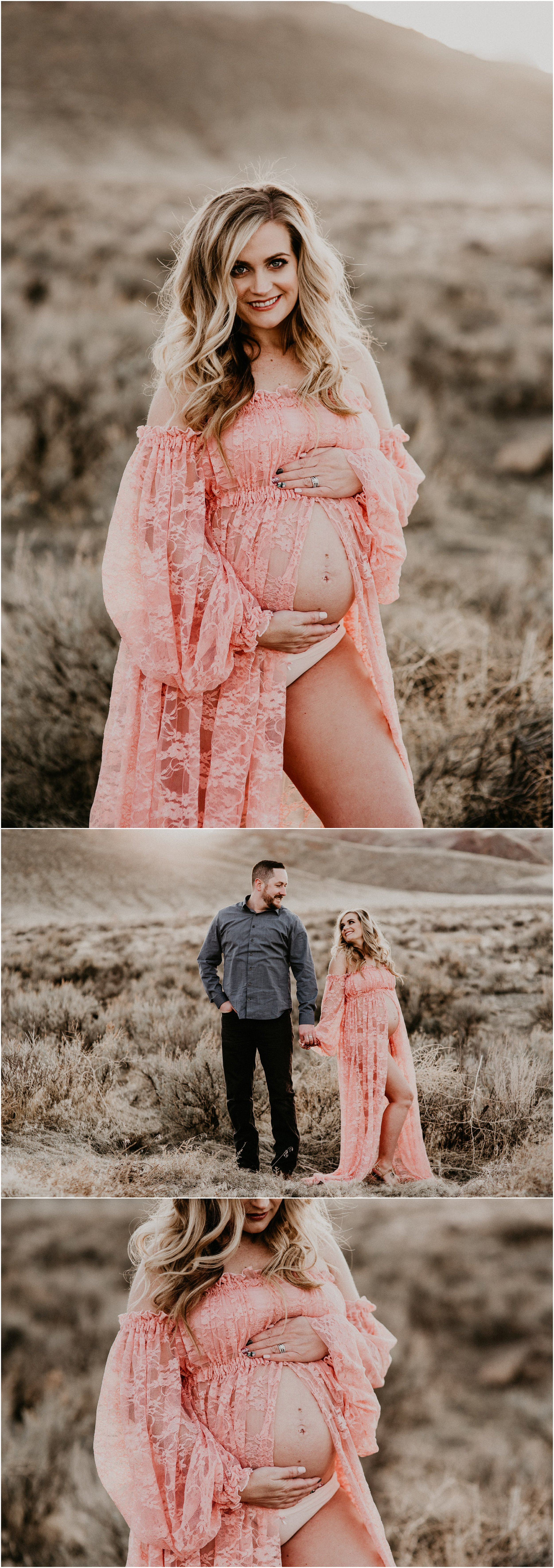 Boise Maternity Boudoir Photographer Makayla Madden Photography Lace Blush Maternity Dress Sew Trendy Accessories Idaho Motherhood Expecting Hair and Makeup Artist Behrens Artistry Baby Bump
