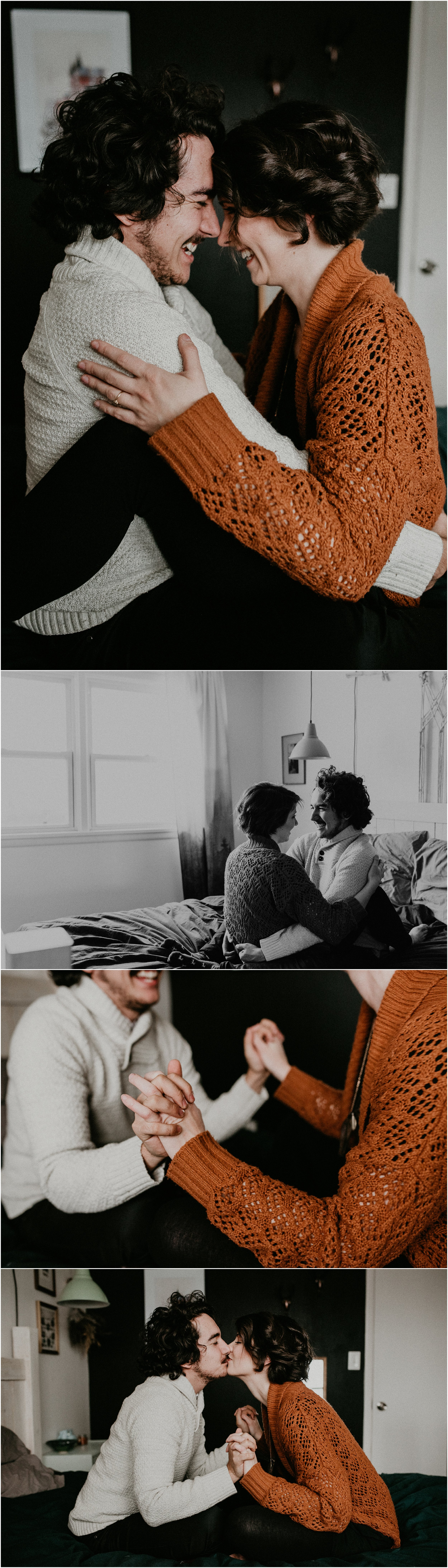 Boise Engagement Wedding Photographer Lifestyle Couples Session In home Dogs Christmas Winter Laughter Love Kissing