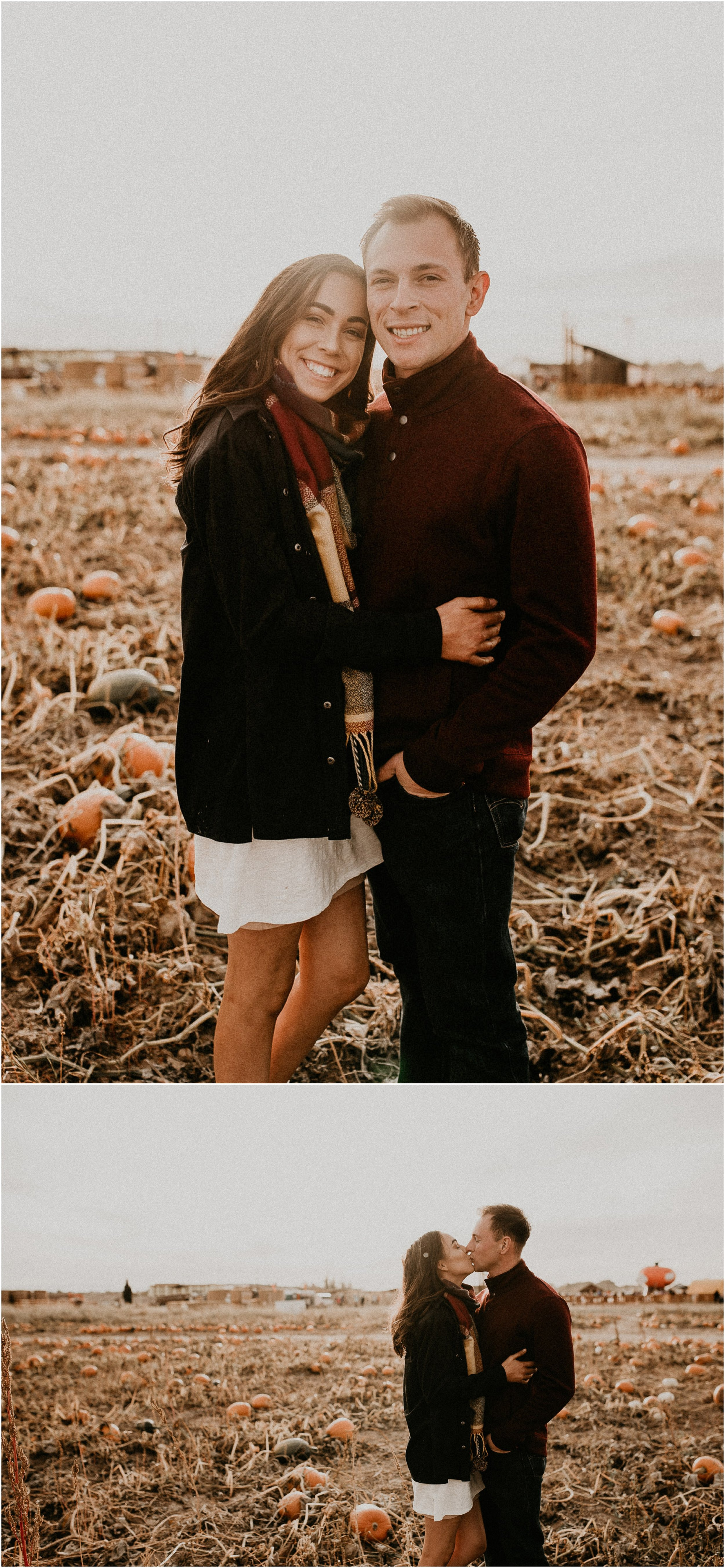 Boise Senior Boudoir Wedding Photographer Makayla Madden Photography Idaho Farmstead Corn Maze Fall Portrait Outfit Ideas Inspiration Plaid Scarf Pumpkin Patch Couples Kissing Engagement Session