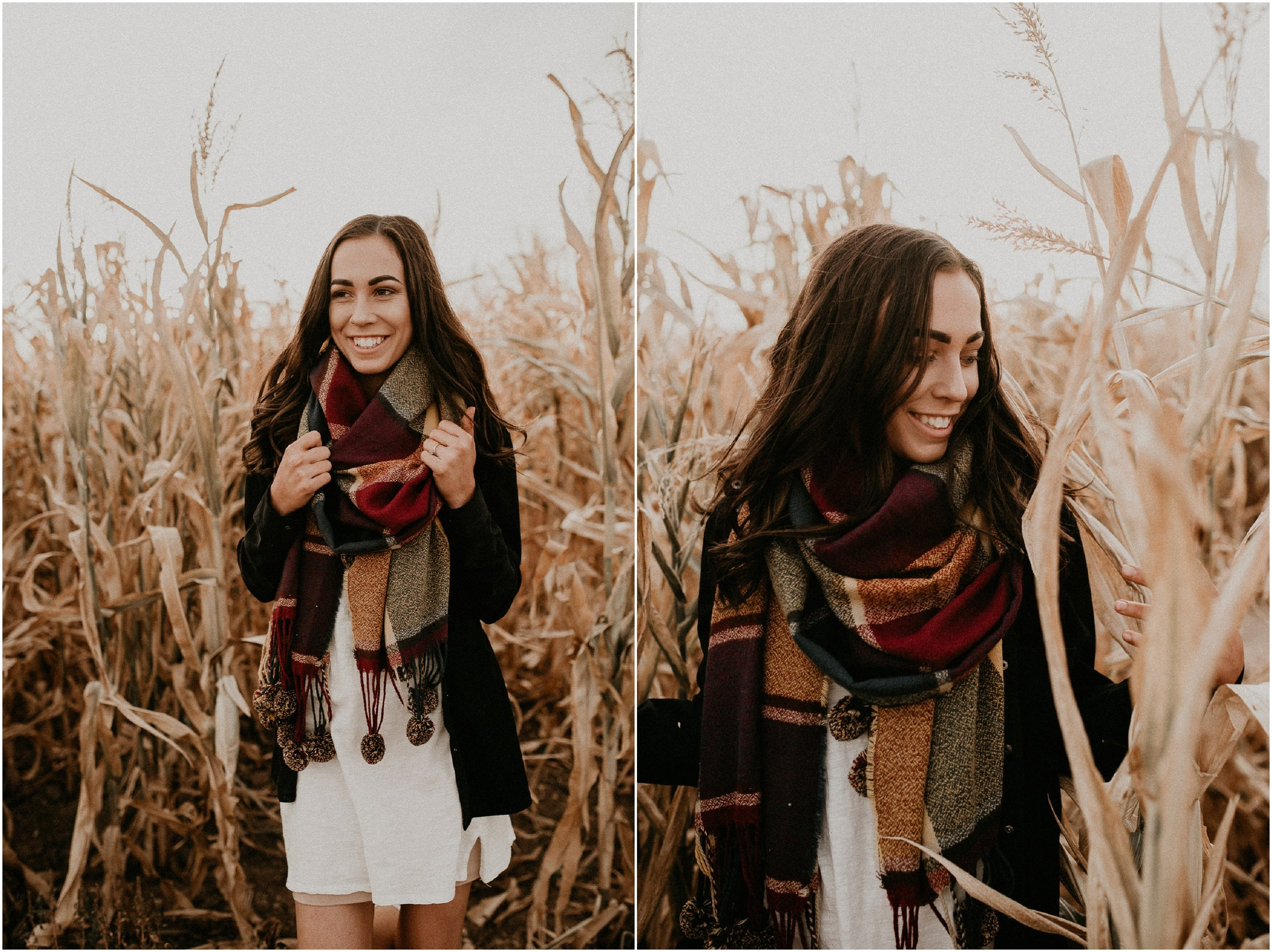 Boise Senior Boudoir Wedding Photographer Makayla Madden Photography Idaho Farmstead Corn Maze Fall Portrait Outfit Ideas Inspiration Plaid Scarf Pumpkin Patch Senior Girl
