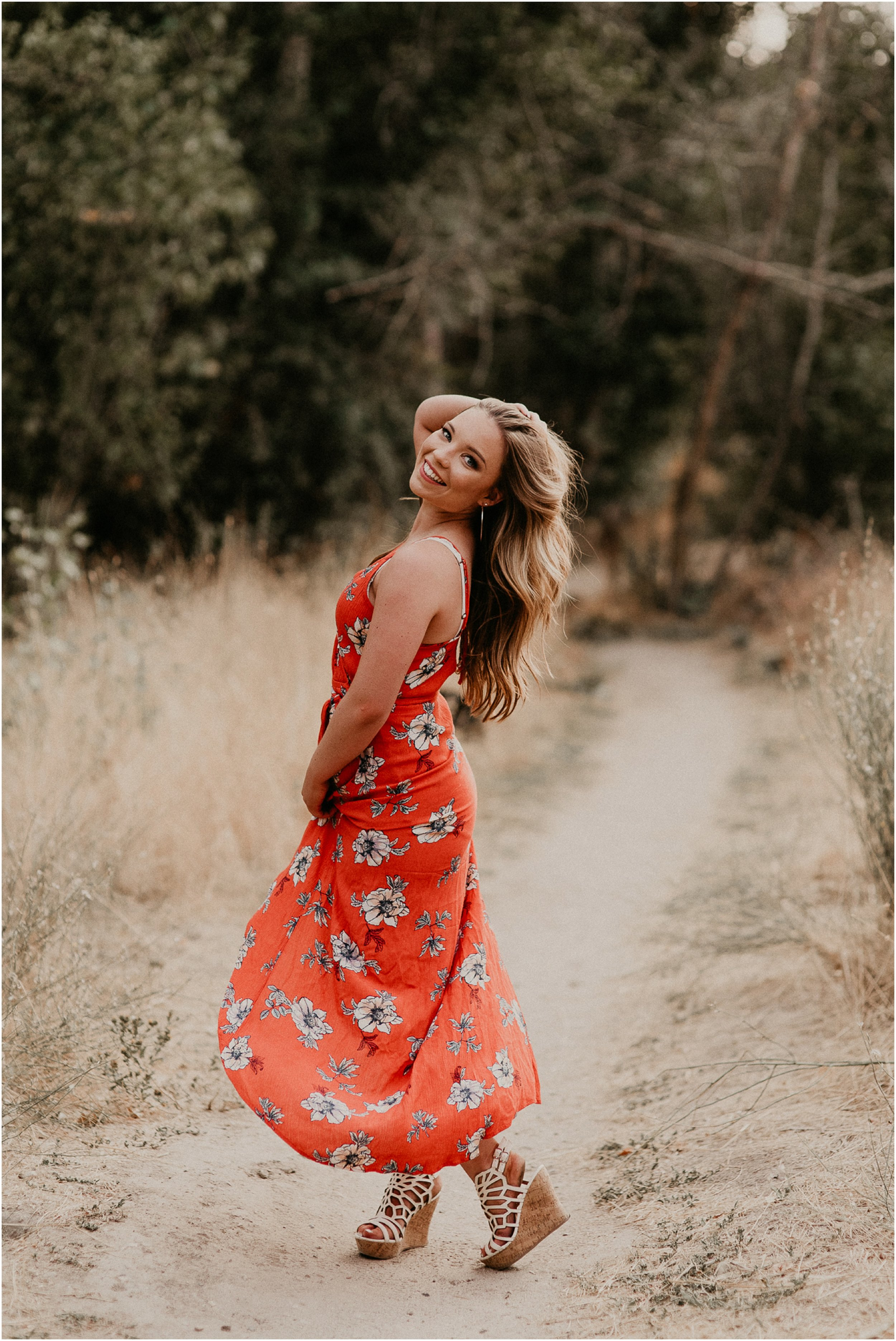 Makayla Madden Photography Boise Senior Photographer Fall Senior Pictures Floral Dress Military Reserve Twirl Beautiful Girl
