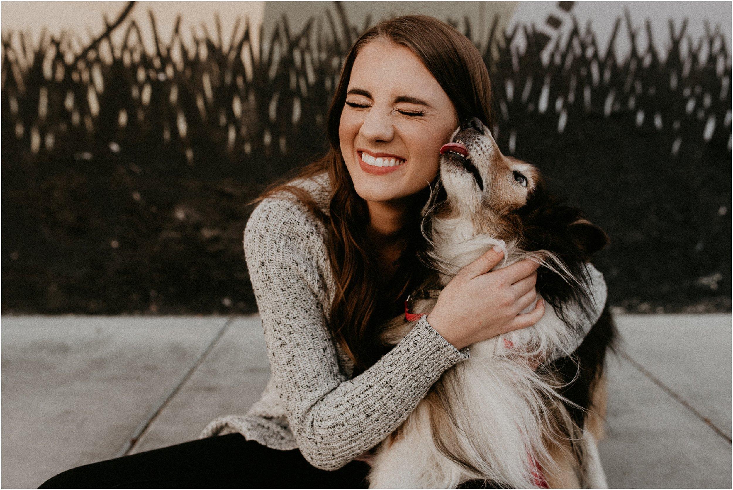 Boise Senior Photographer Makayla Madden Photography Senior Girl Dog Puppy Downtown Boise Record Exchange