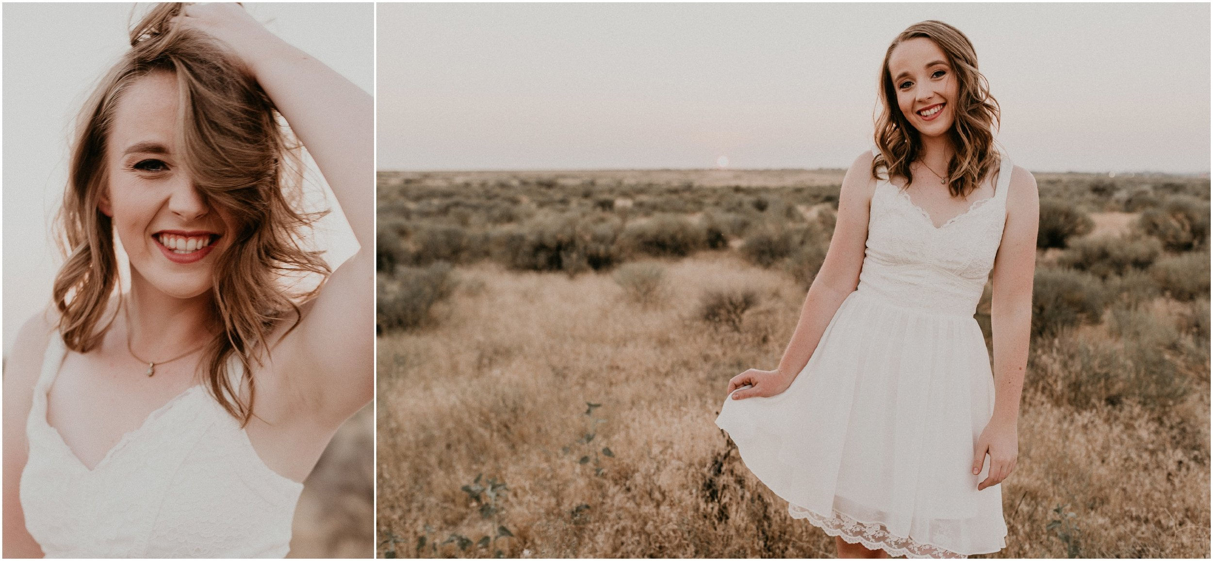 Boise Senior Photography Makayla Madden Photography Boise Idaho Foothills Sagebrush Desert Vintage Dress Bible Cole Valley Christian Summer Golden Hour