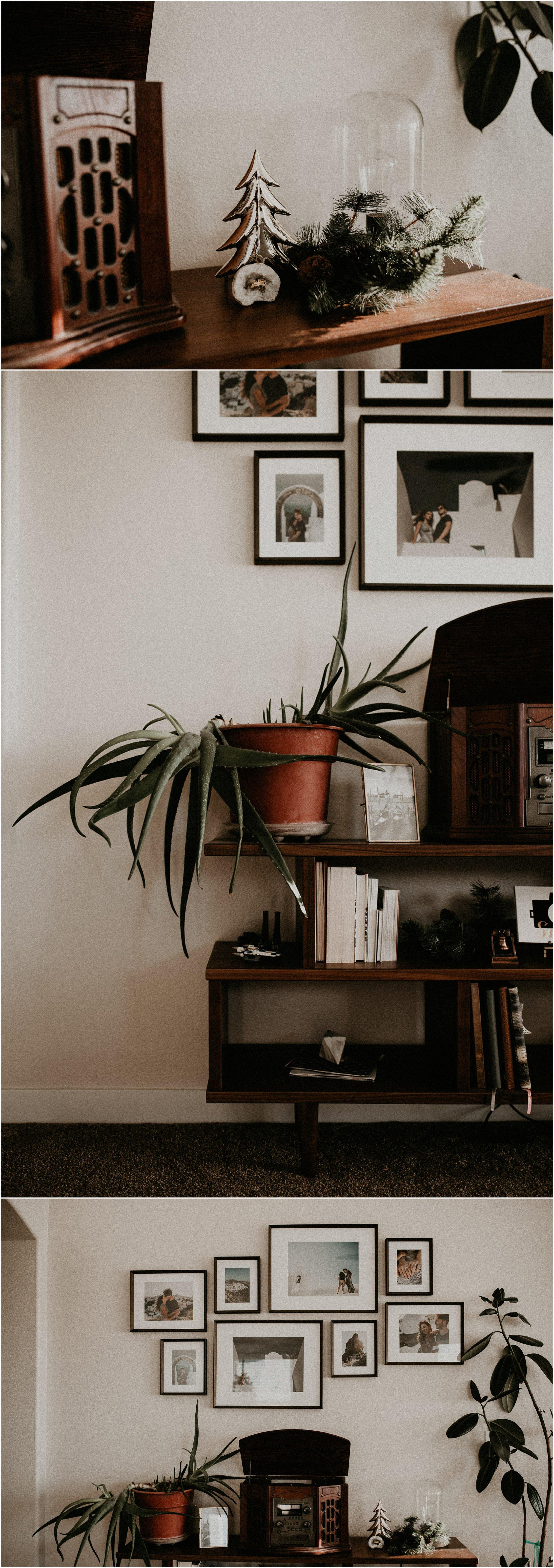 Boise Boudoir Photographer Boise Senior Photographer Makayla Madden Photography Mid Century Modern Ashlyn Bookshelf World Market Aloe Plant Record Player Vinyl