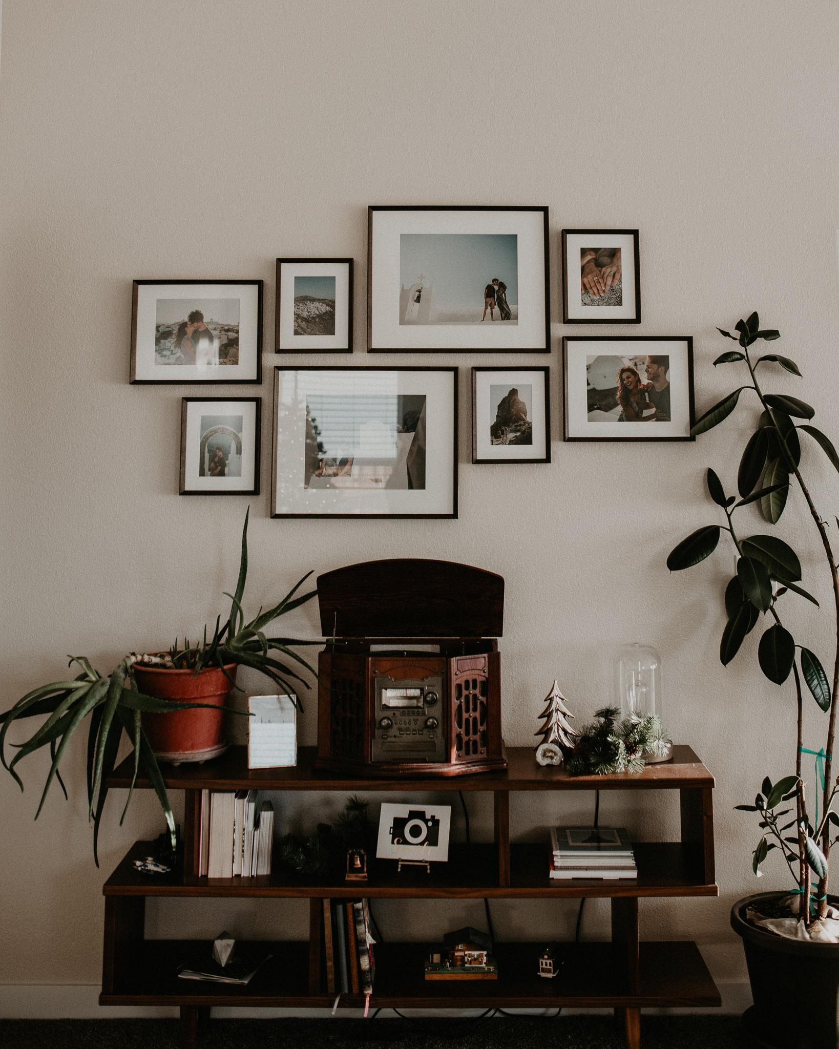Boise Boudoir Photographer Boise Senior Photographer Makayla Madden Photography Mid Century Modern Ashlyn Bookshelf World Market Aloe Plant Record Player Vinyl Rubber Tree