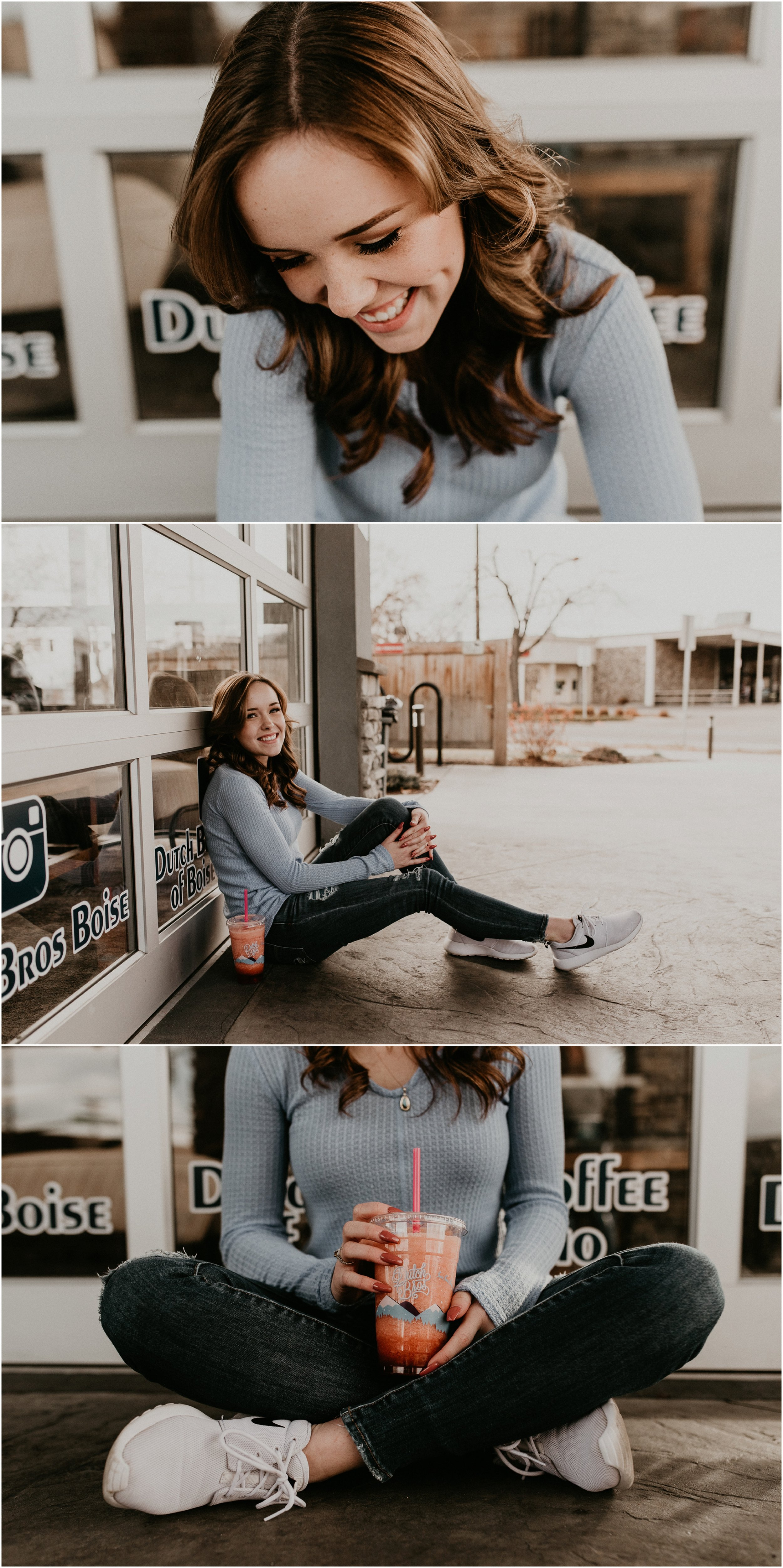 Boise Senior Photographer Makayla Madden Photography Downtown Boise Dutch Bros Senior Pictures Kuna High School Meridian Senior Photographers
