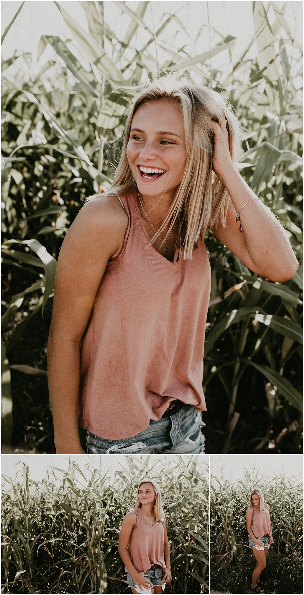 Boise Senior Photographer Makayla Madden Photography Corn Field Kuna Summer Senior Session Location Ideas Kuna High Brooke Ray Laughter Fun