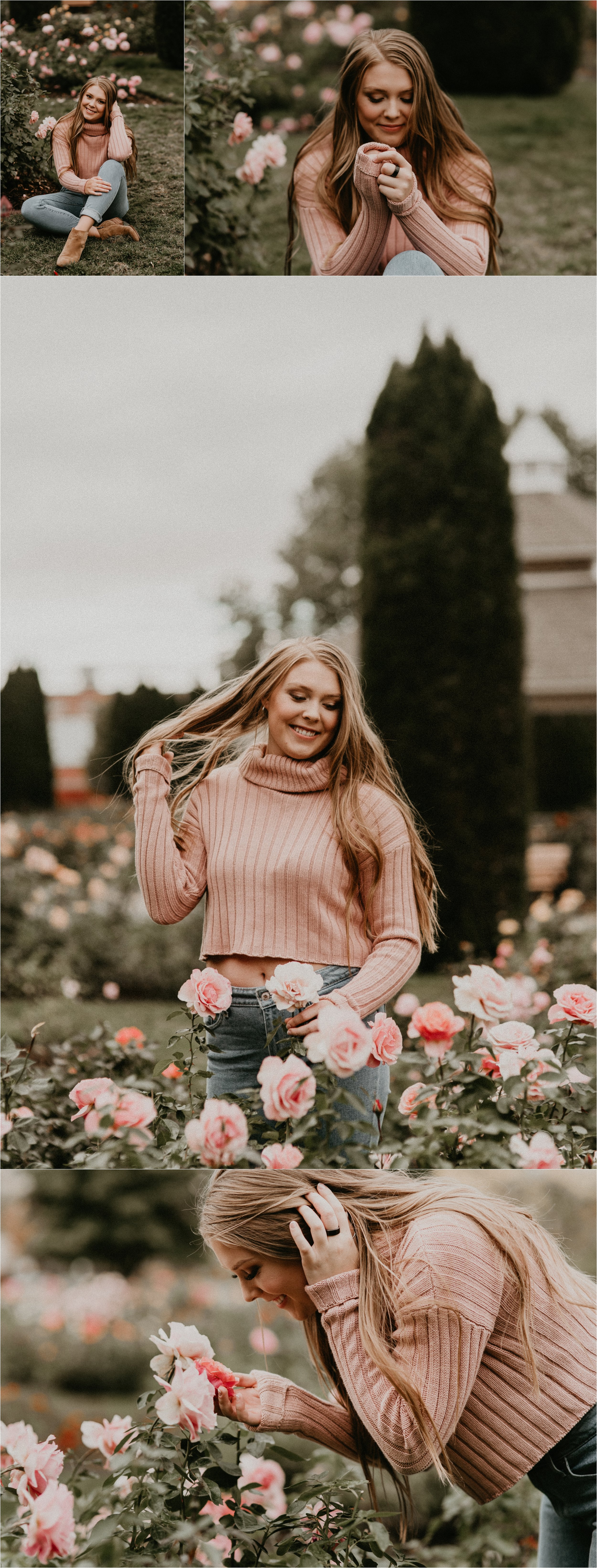 Boise Senior Photographer Makayla Madden Photography Downtown Boise Rose Garden Capital High Senior Flowers Senior Pictures