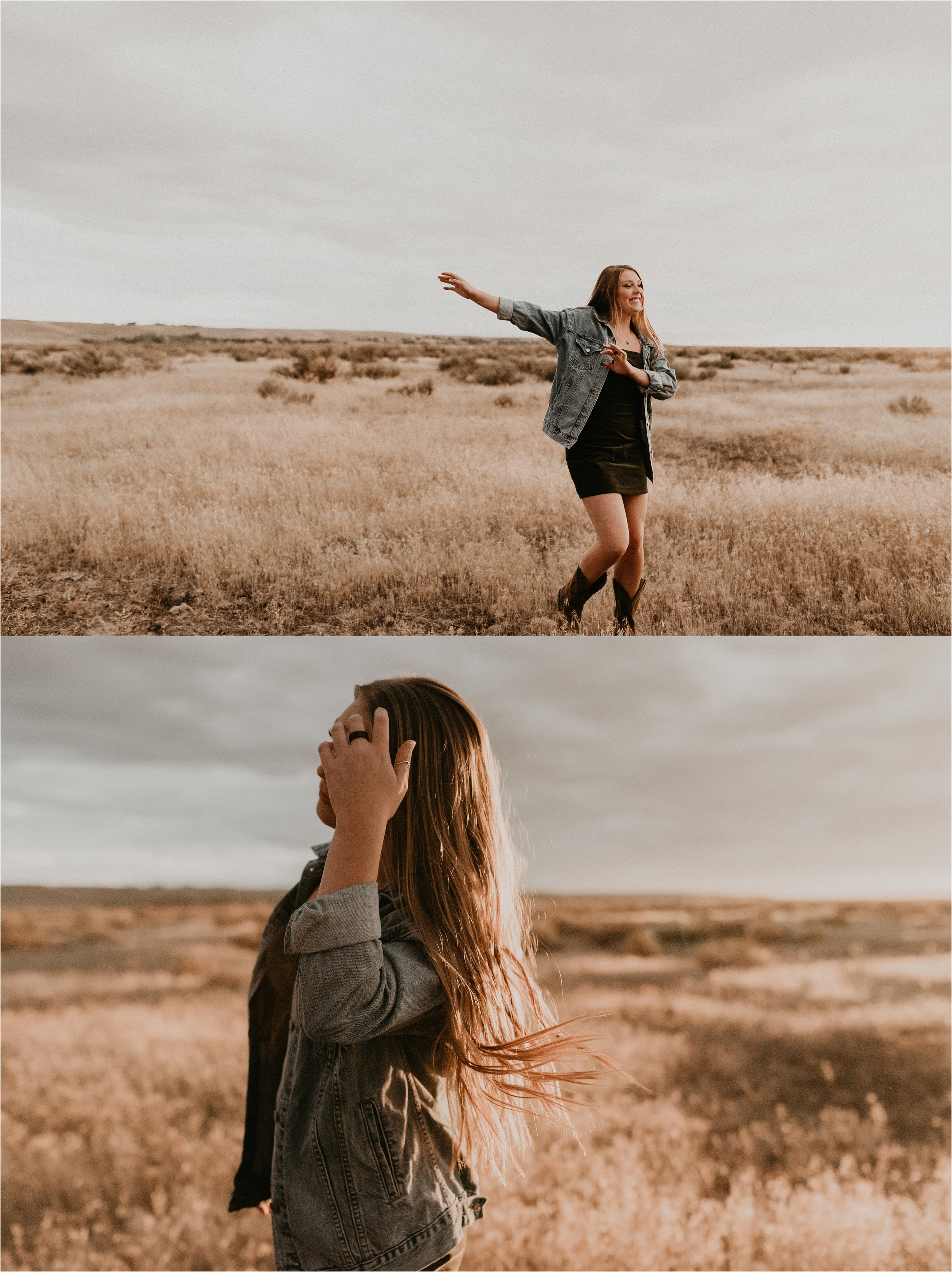Boise Senior Photographer Makayla Madden Photography Boise Foothills Country Rustic Senior Pictures Senior Girl Outfit Inspiration Idaho Senior Photography Dancing
