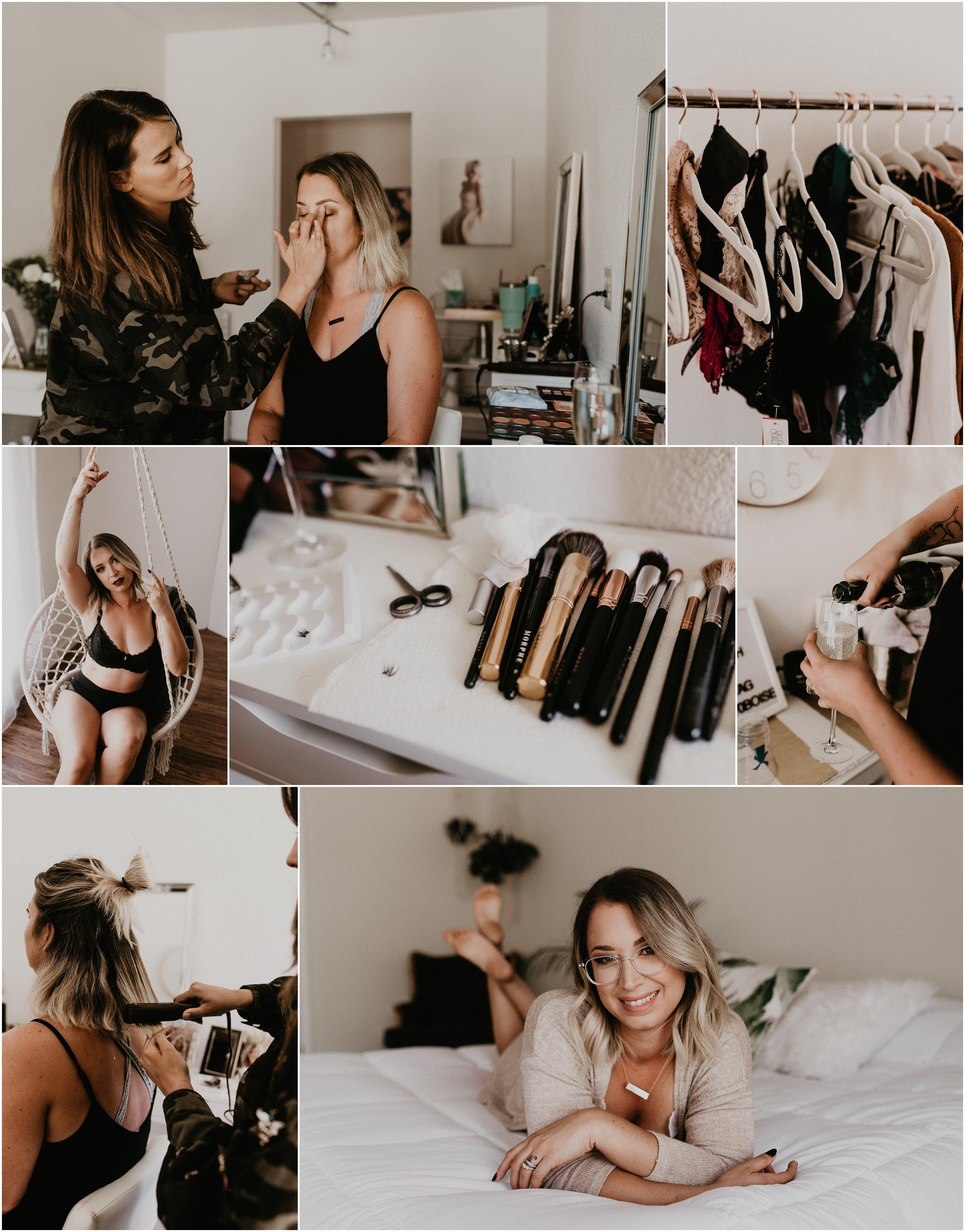 Boudoir By Kayla Boise Boudoir Photographer Makayla Madden Photography Behrens Artistry Hair and Makeup Idaho Boudoir Studio 870 Studio Boudoir Makeup Room