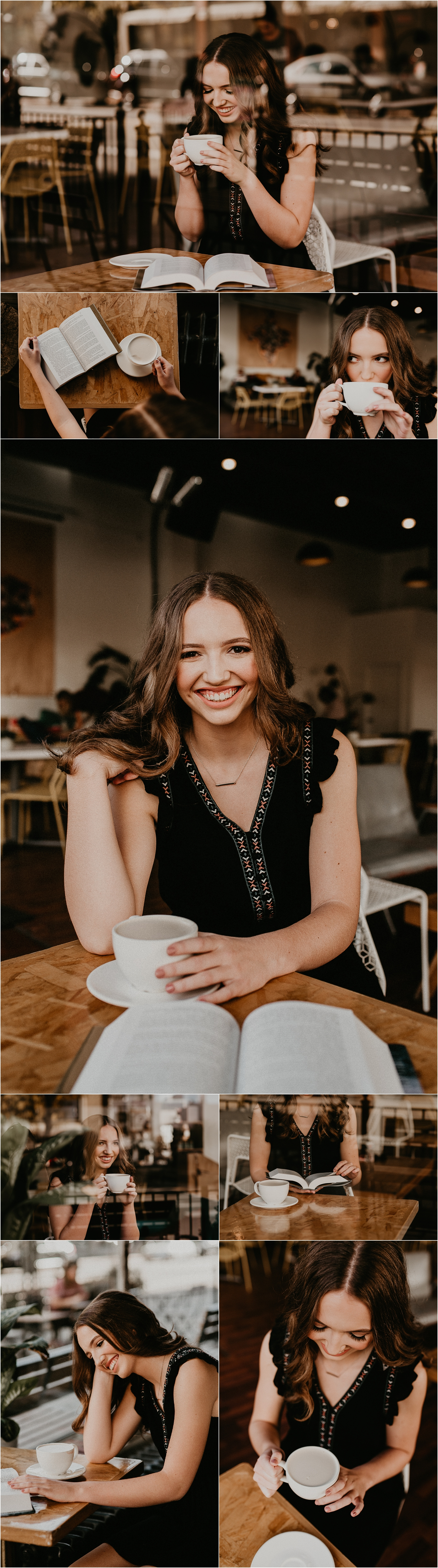 Boise Senior Photographer Makayla Madden Photography Downtown Boise The District Coffee House Boise Photography Coffee Shop Portraits Senior Posing Location Ideas Inspiration