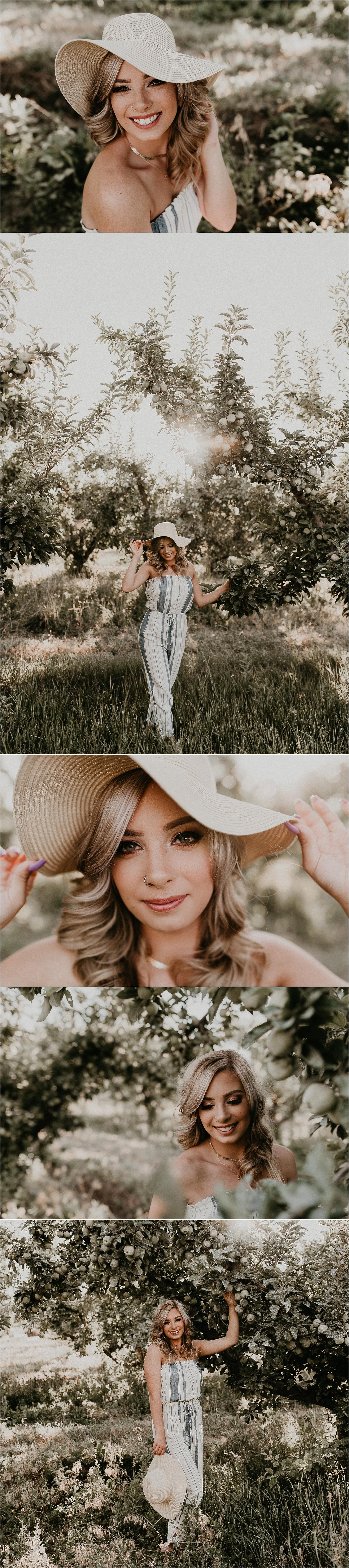Boise Senior Photographer Idaho Apple Orchard Summer Senior Pics Senior Girl Outfit Ideas Jumpsuit Inspiration Top Senior Portraits
