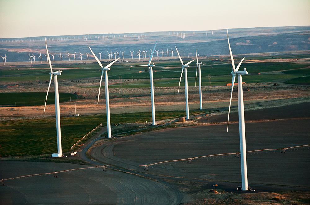 Windmills on Castle Rock farming land.