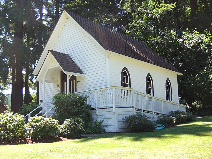 German Methodist Pioneer Church at the Baker Cabin site in Oregon City.  Photo by Dean Walch